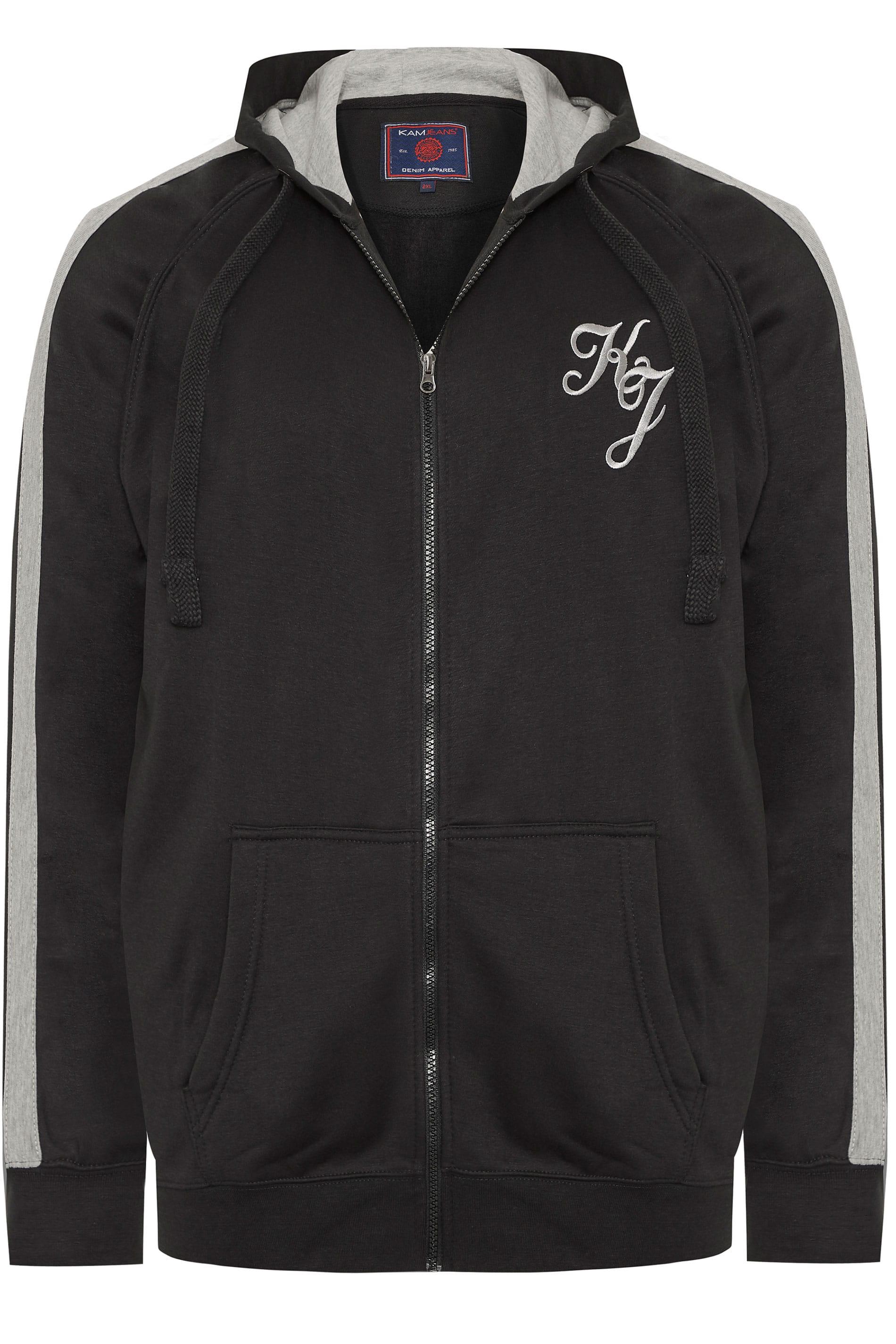 KAM Black & Grey Zip Through Hoodie