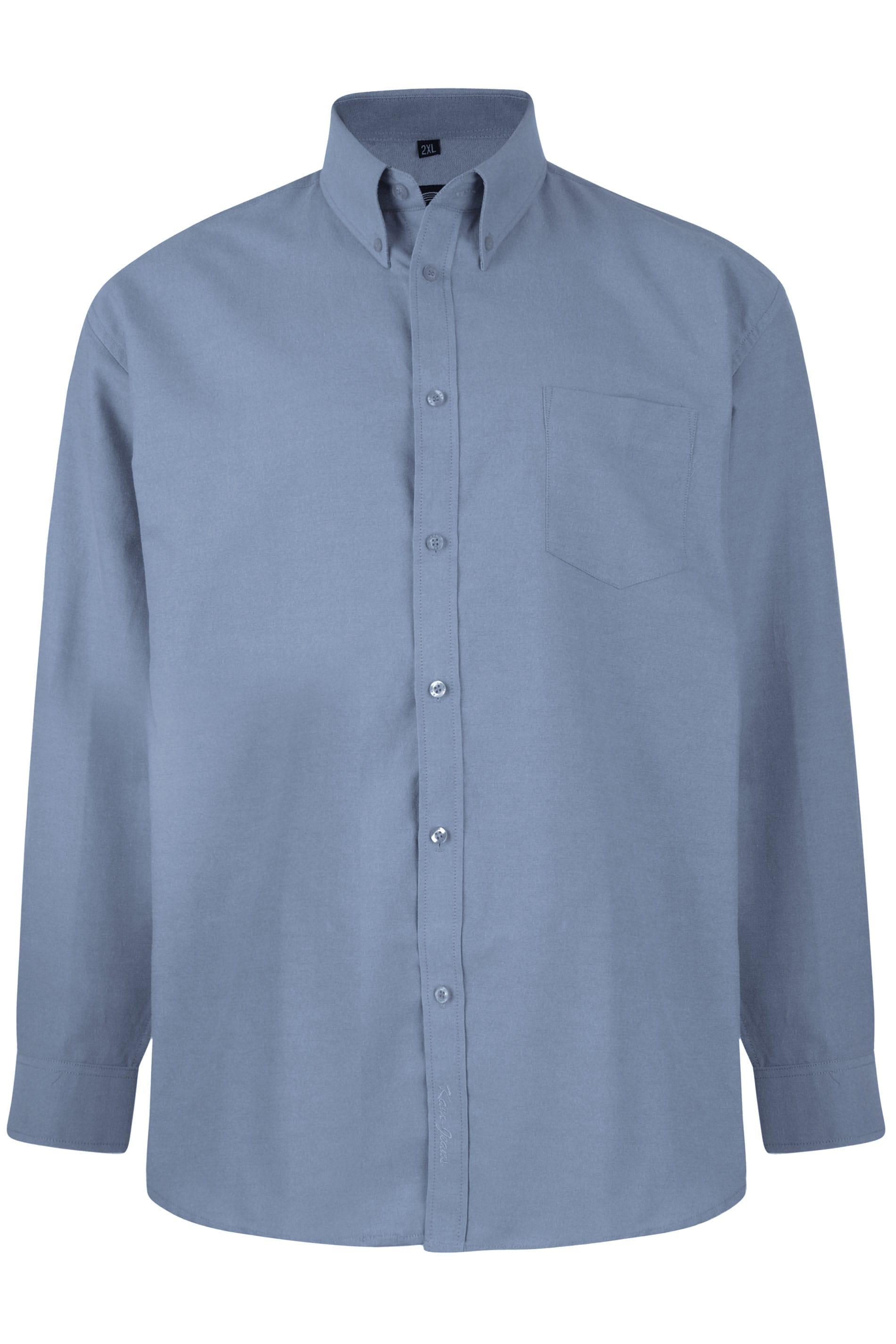 KAM Dark Blue Oxford Long Sleeve Shirt