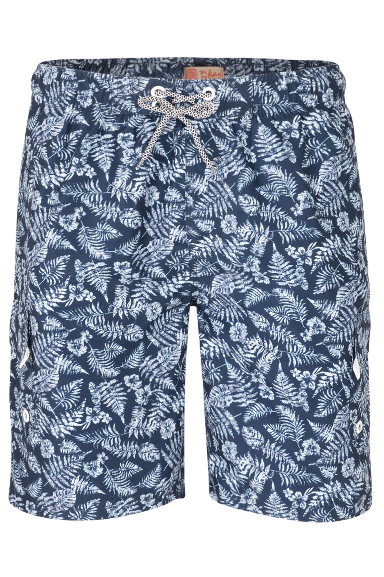 KAM Navy Leaf Print Swim Shorts