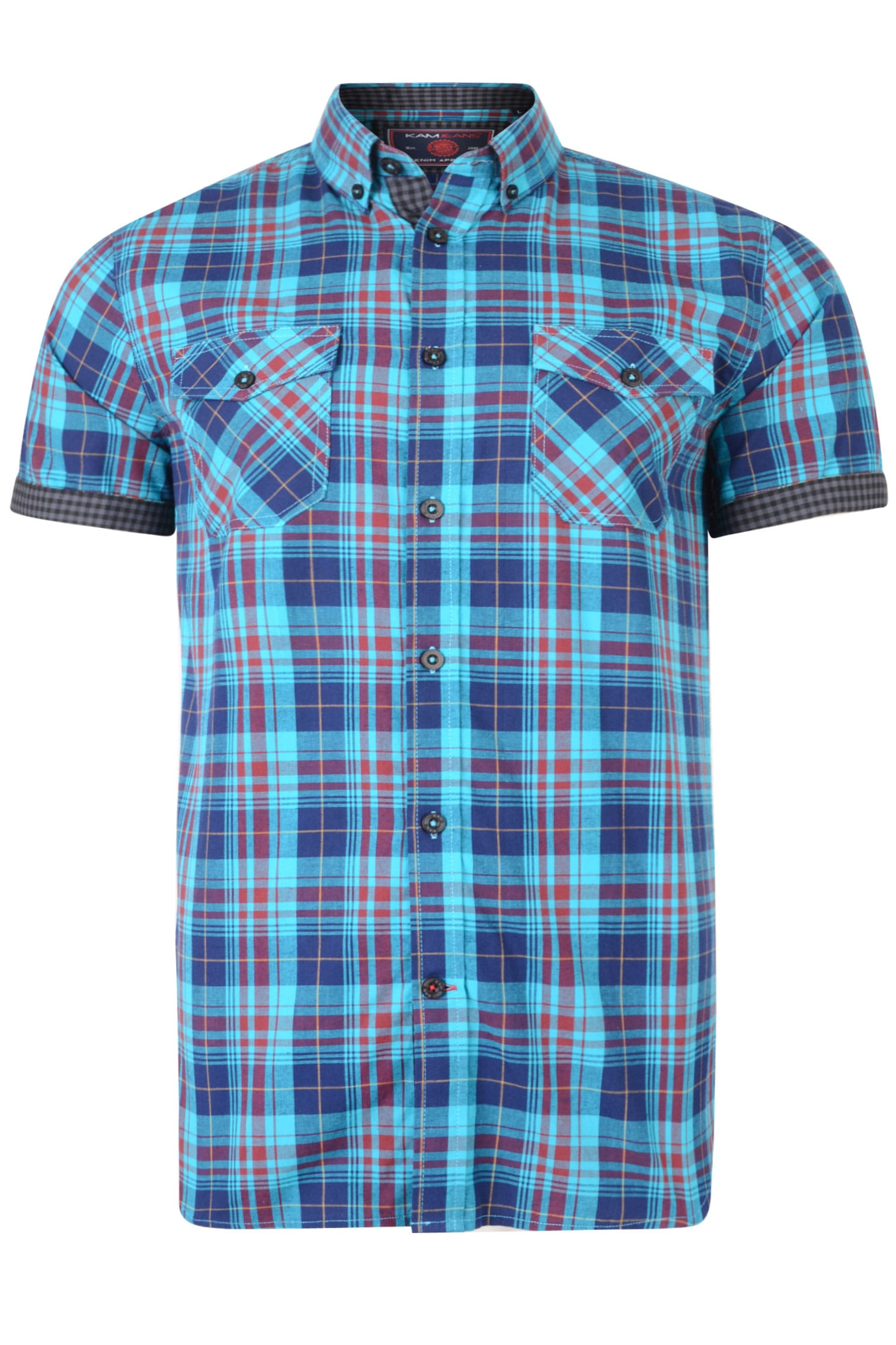 KAM Blue & Burgundy Retro Check Shirt