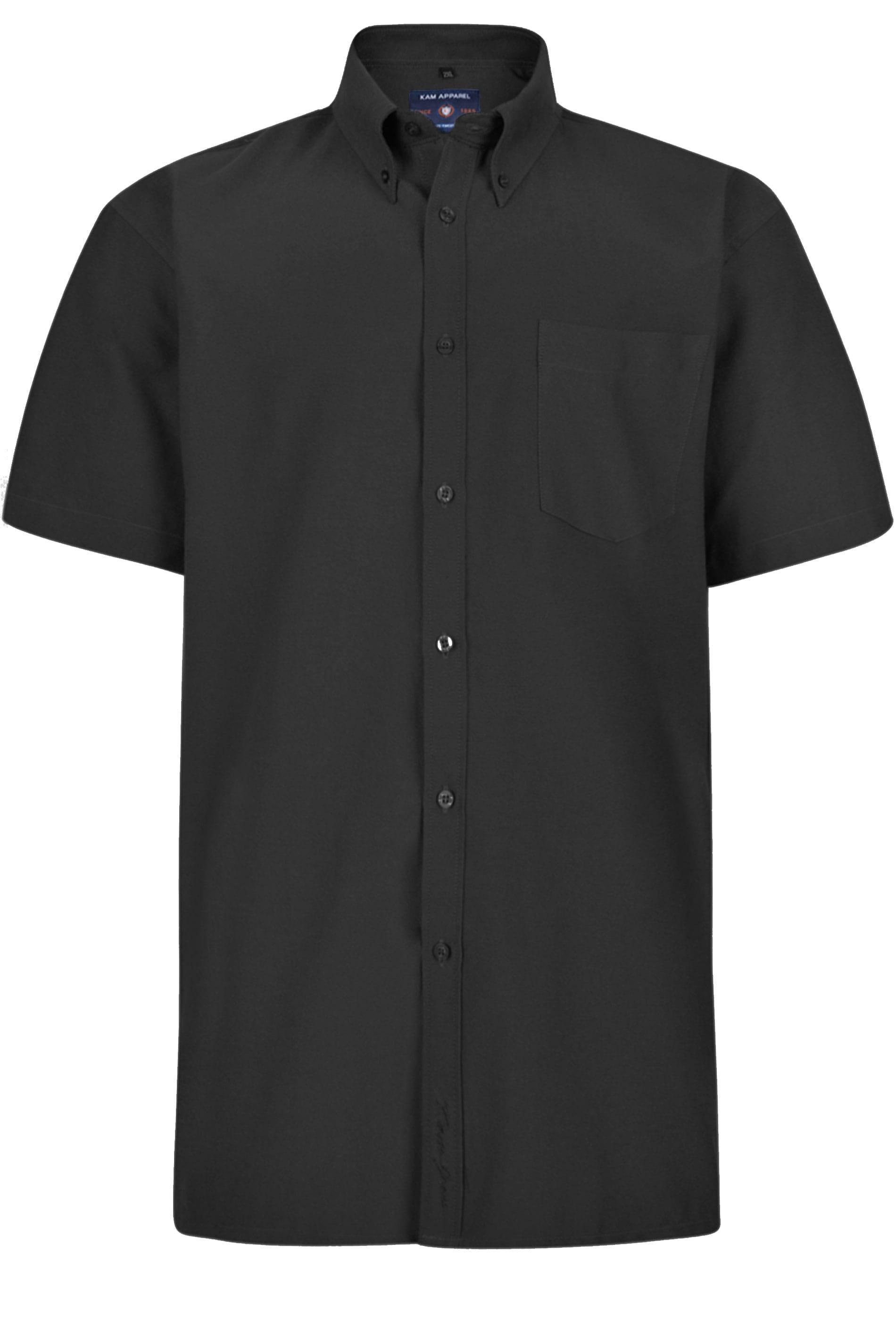 KAM Black Oxford Short Sleeve Shirt