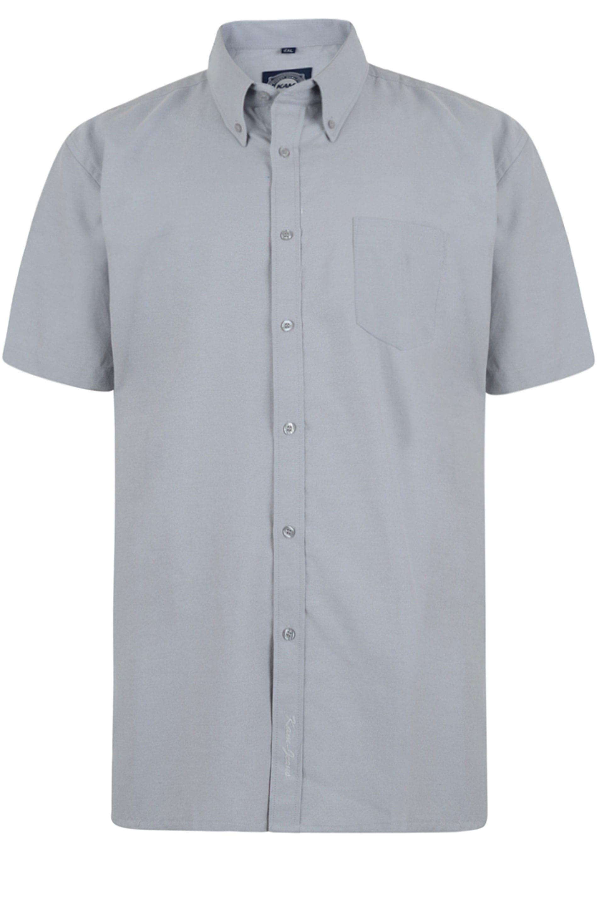 KAM Grey Oxford Short Sleeve Shirt
