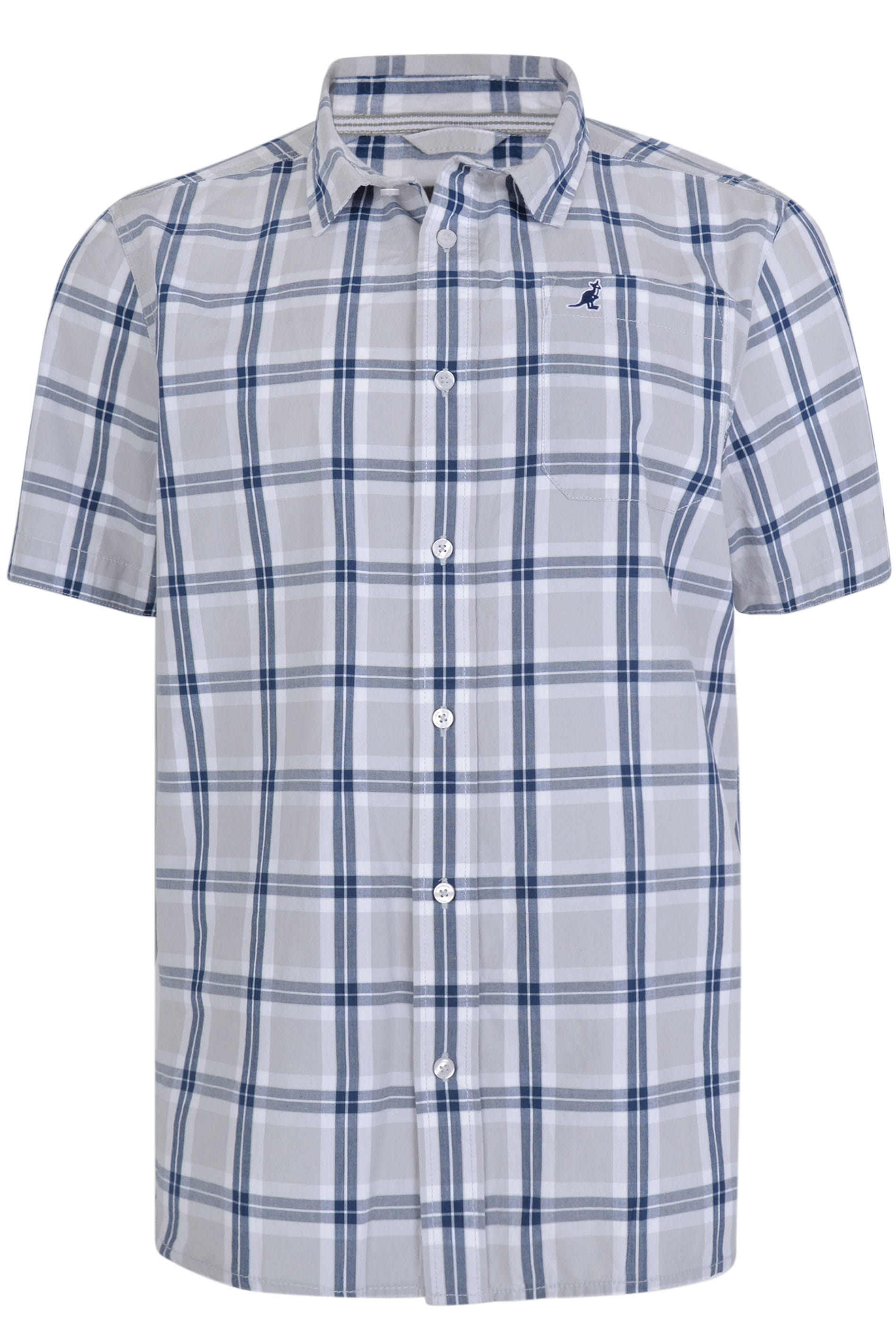 KANGOL Grey & Navy Check Short Sleeve Shirt