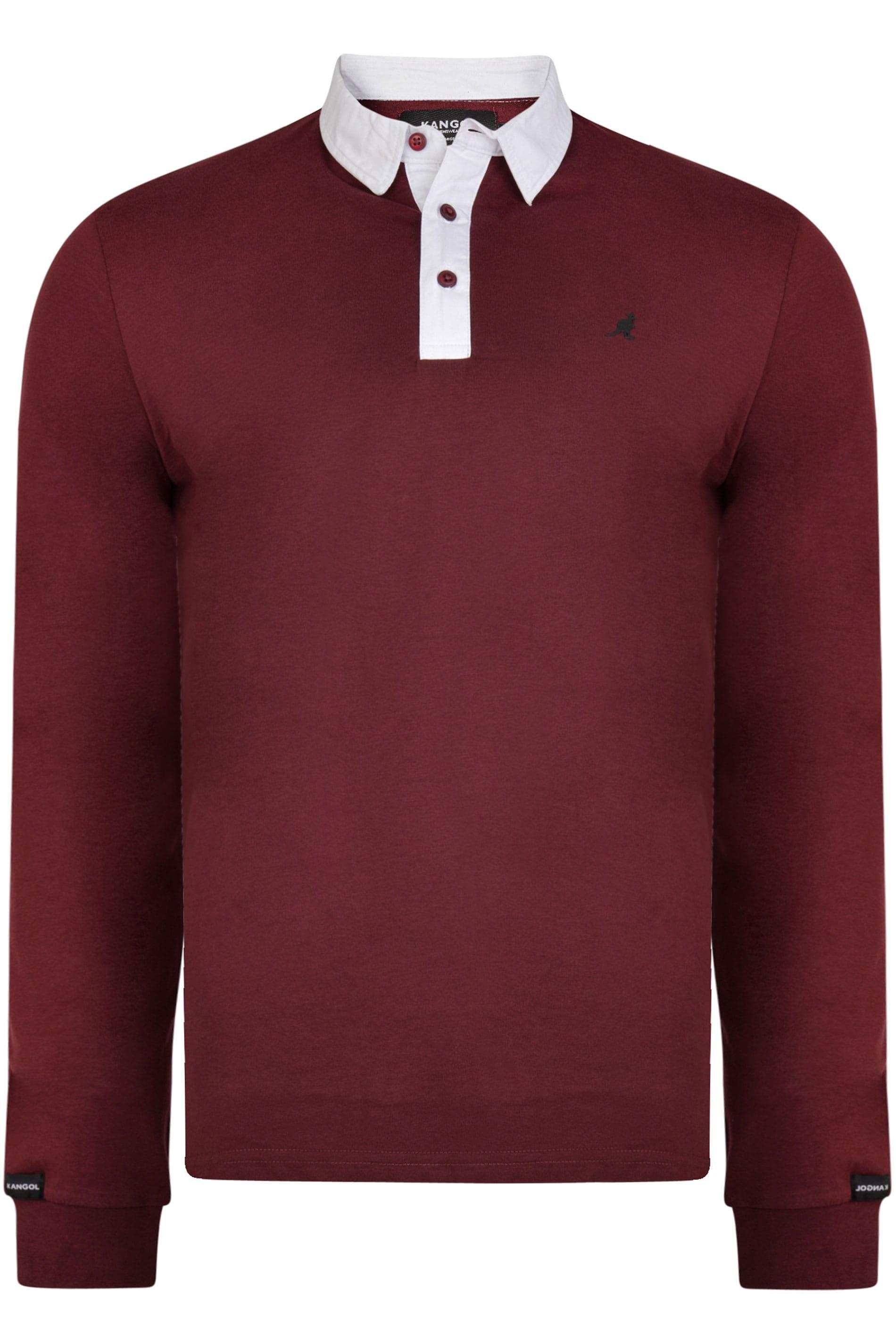 Kangol Burgundy Long Sleeve Polo Shirt