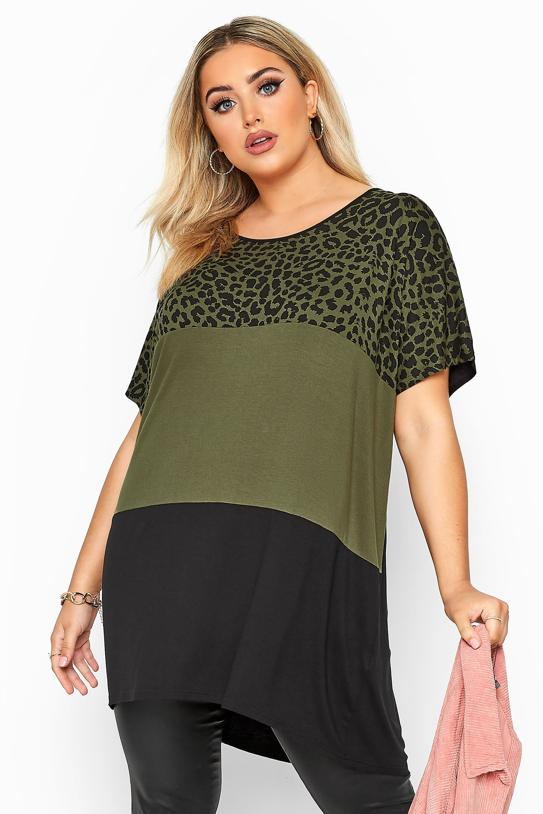 Khaki Animal Print Colour Block Top