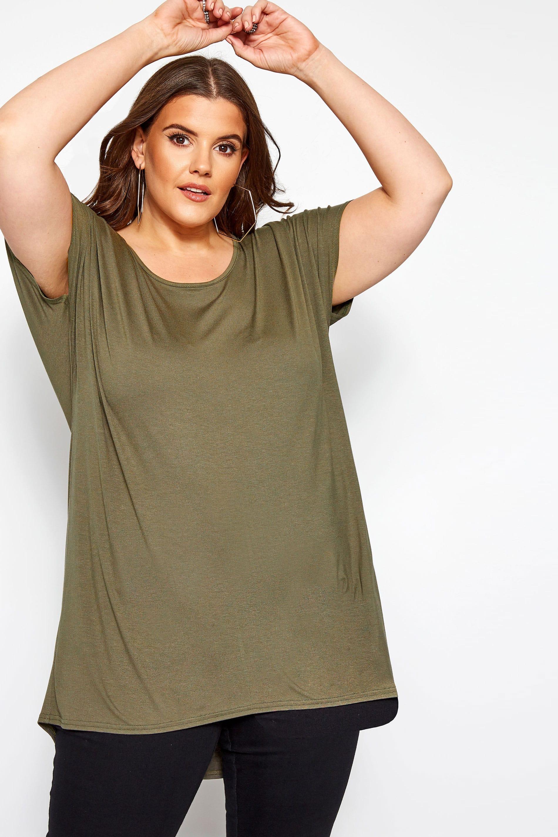 T-Shirt mit Stufensaum - Khaki