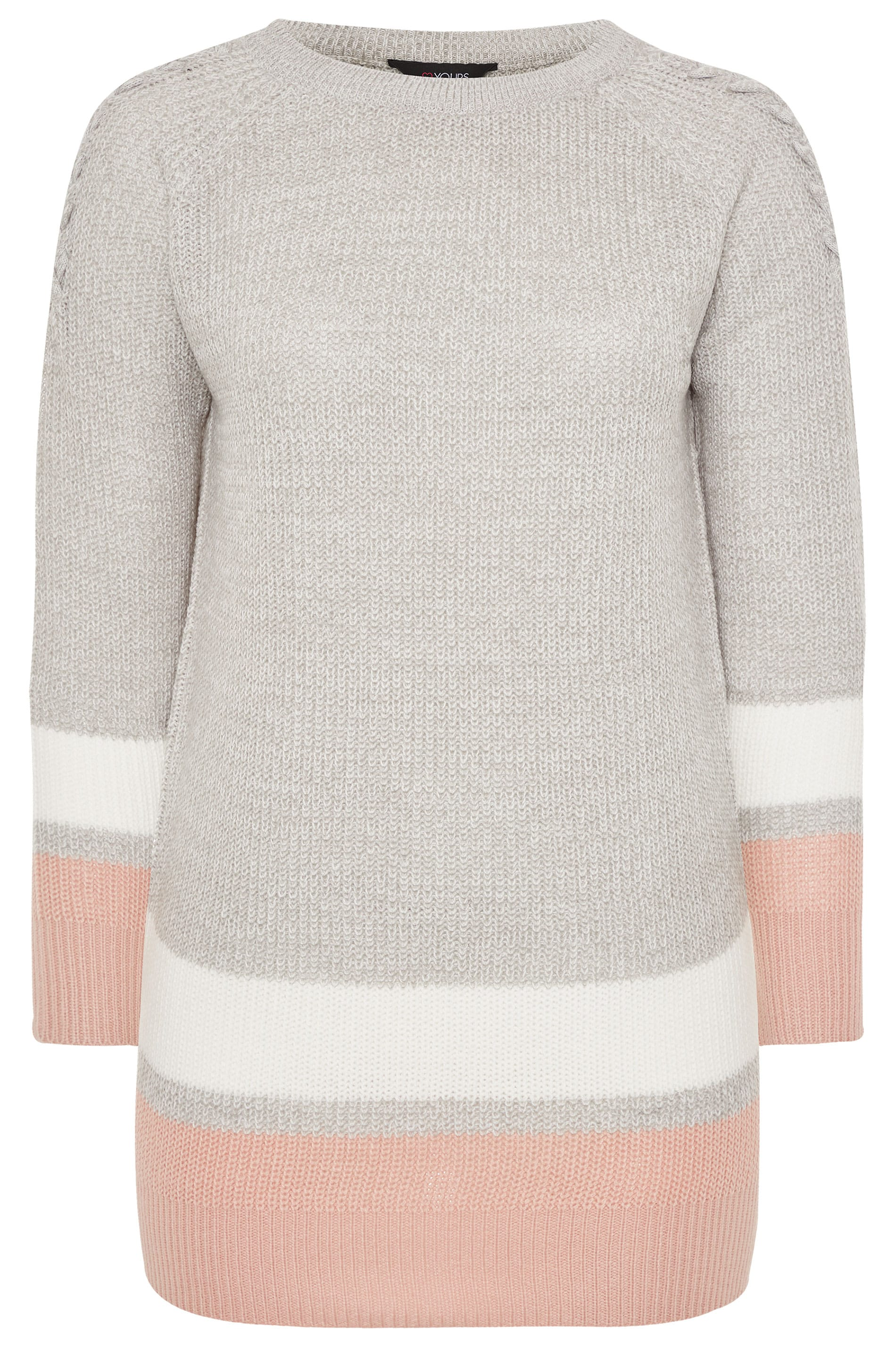 Yours Clothing Women/'s Plus Size Stripe Trims Knitted Jumper
