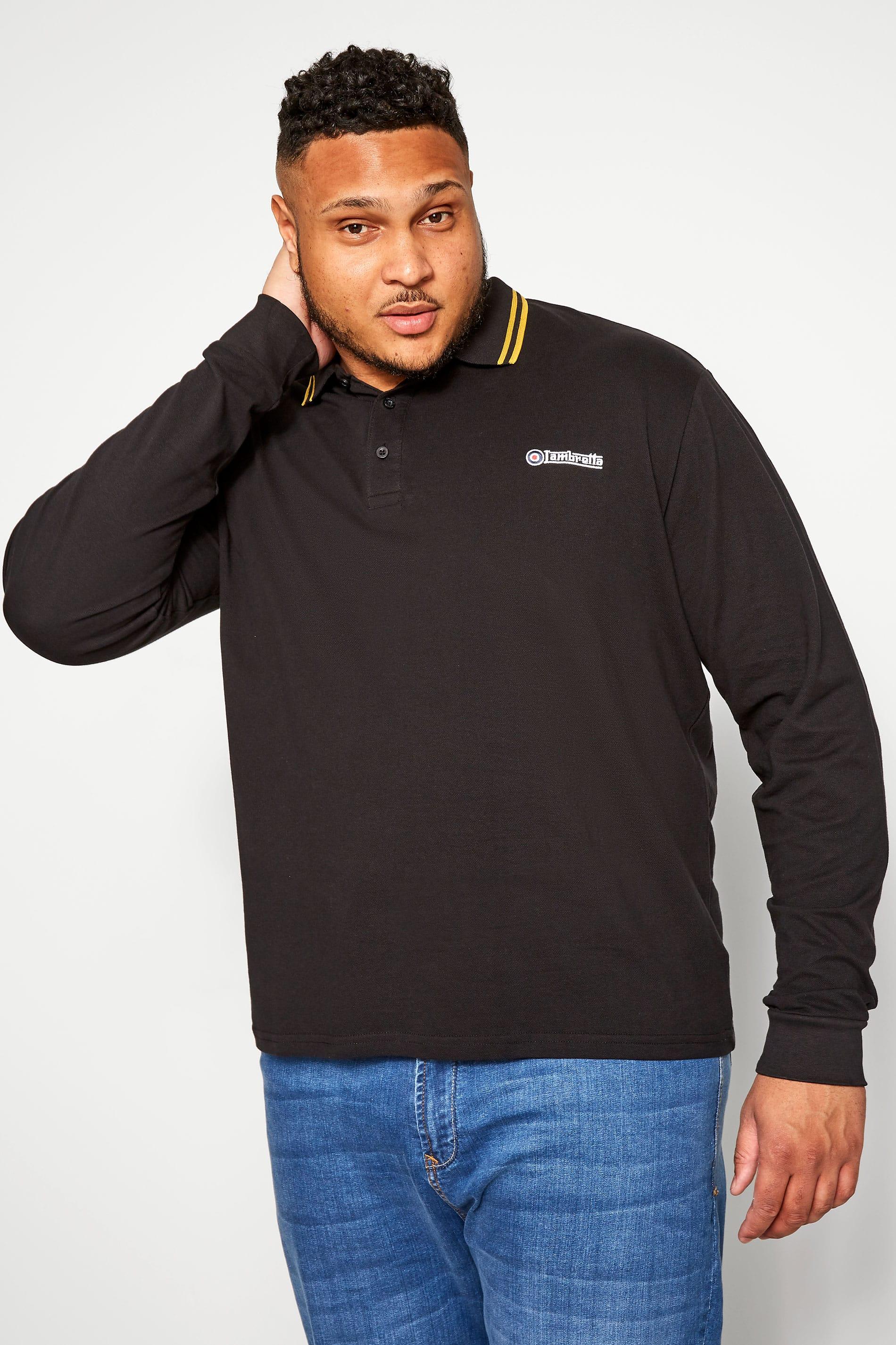 LAMBRETTA Long Sleeve Tipped Polo Shirt