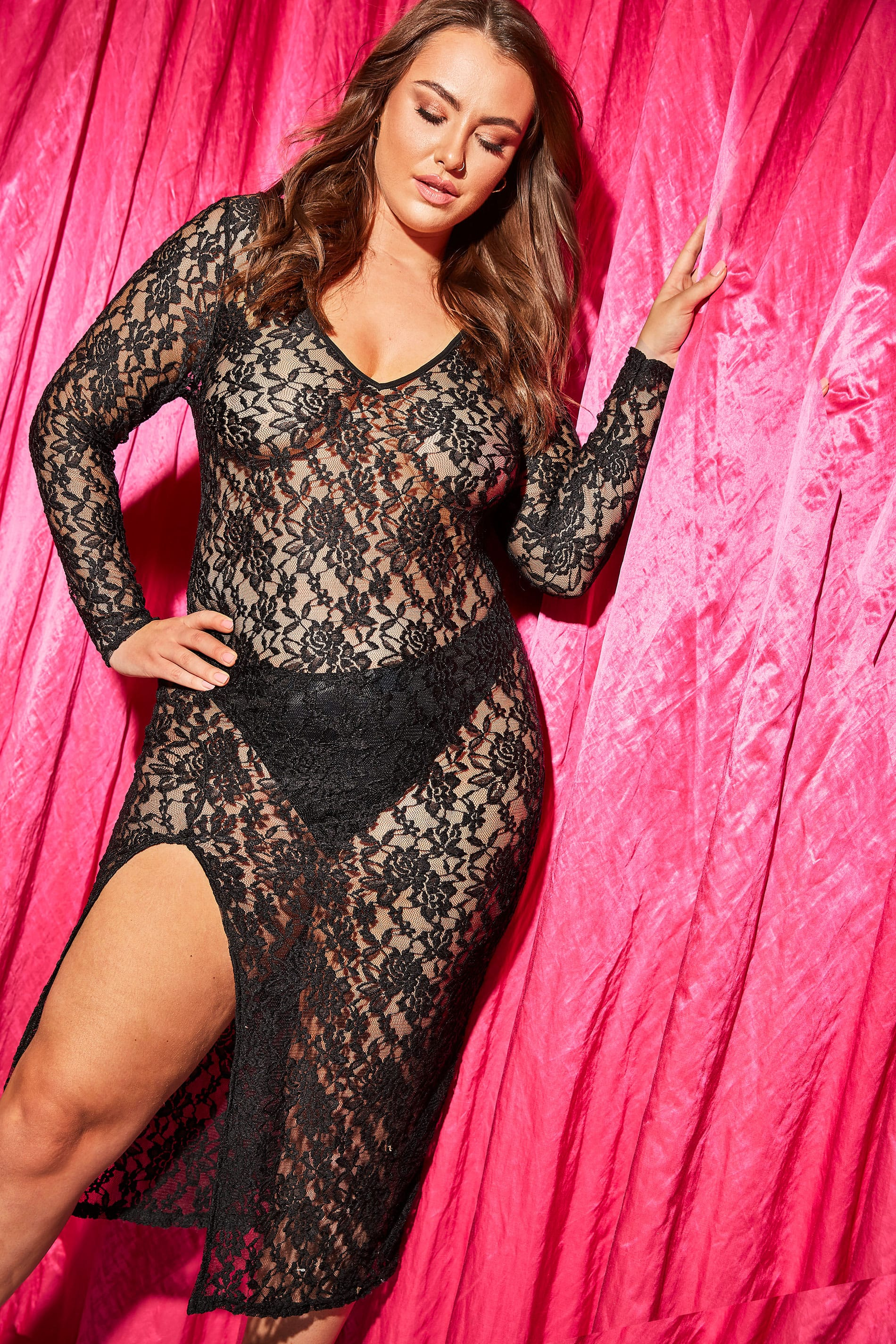 LIMITED COLLECTION Black All Over Lace Maxi Dress