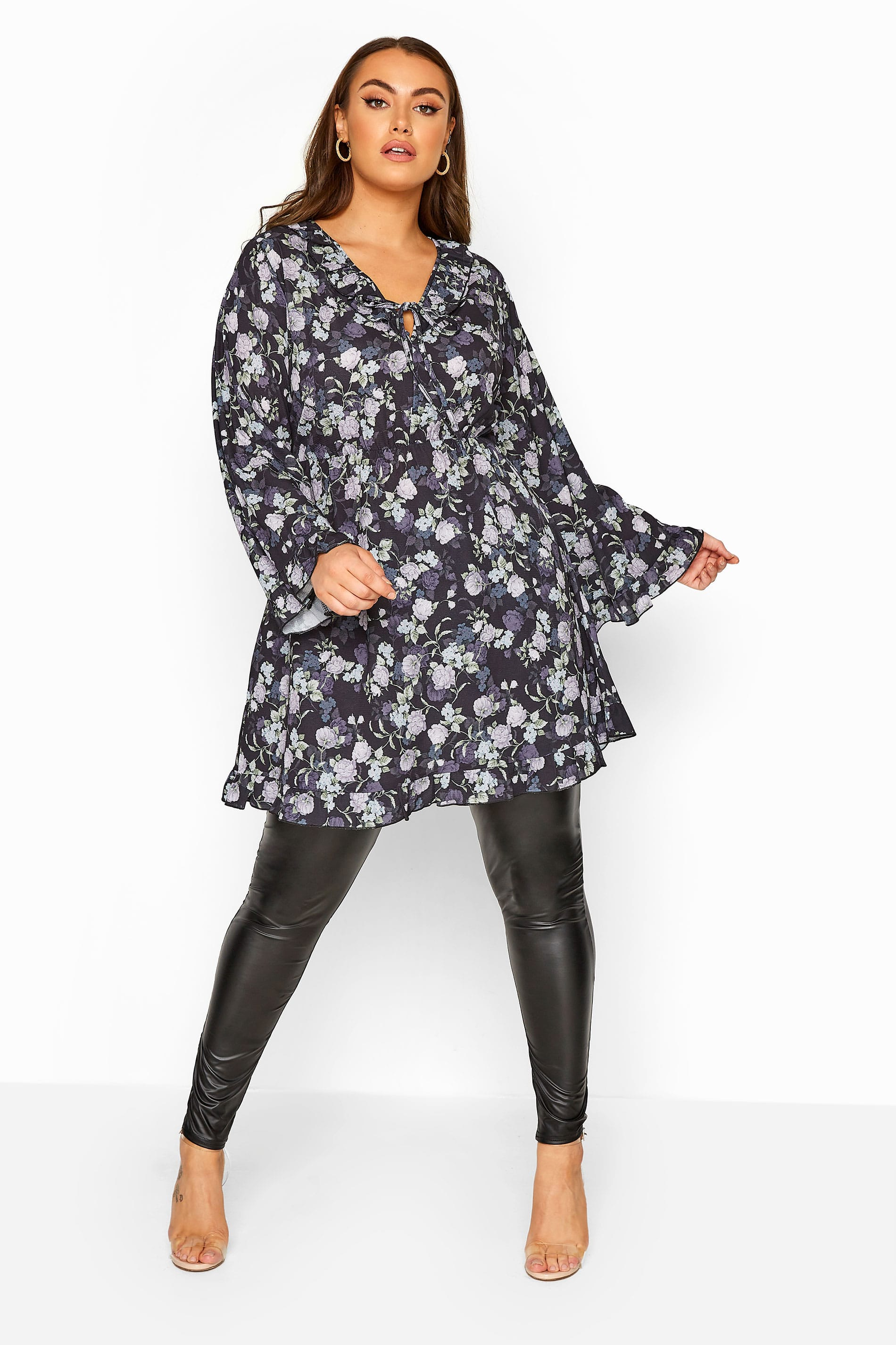 LIMITED COLLECTION Black Floral Frill Smock Dress