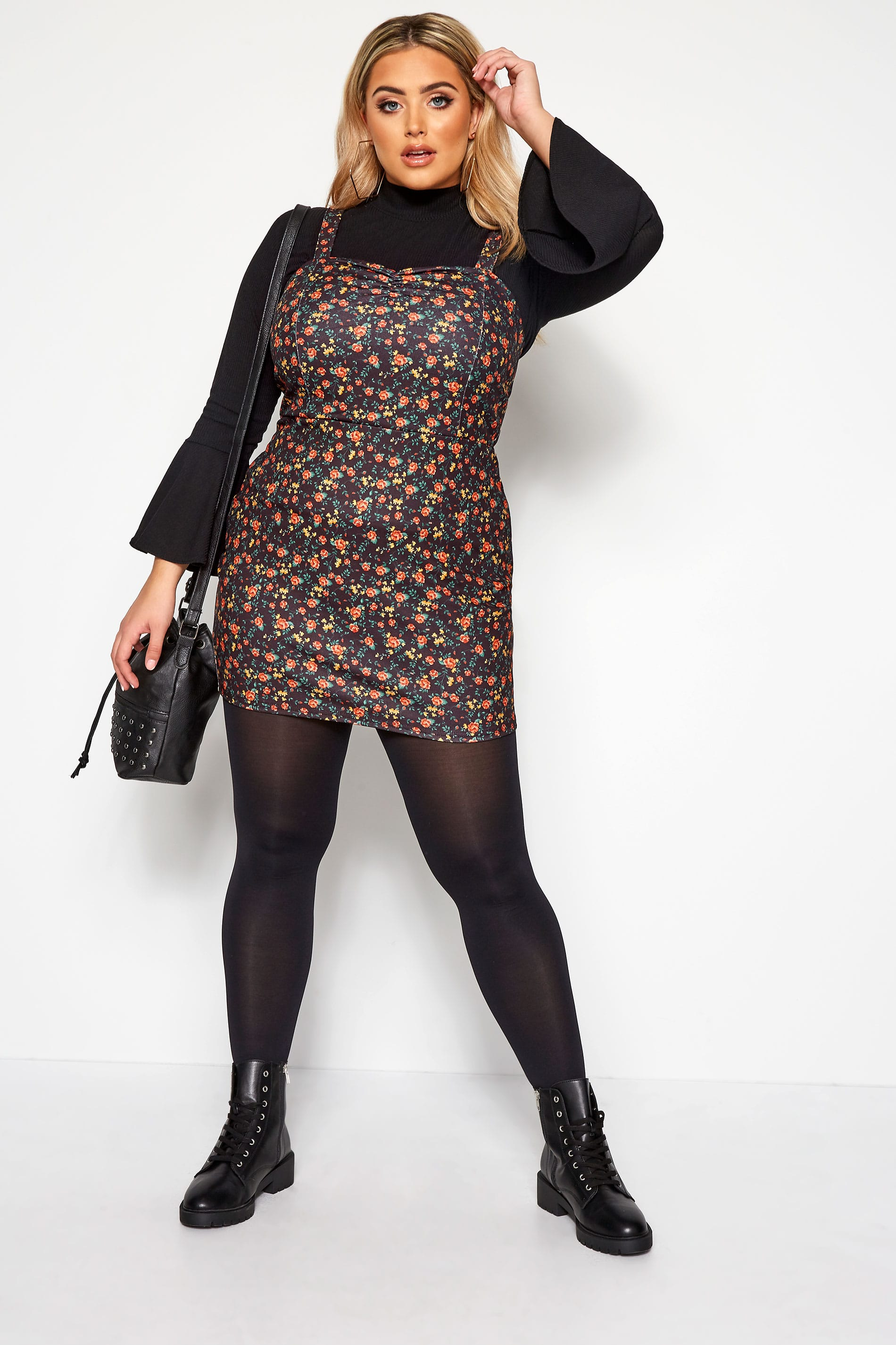 LIMITED COLLECTION Black Floral Pinafore Dress