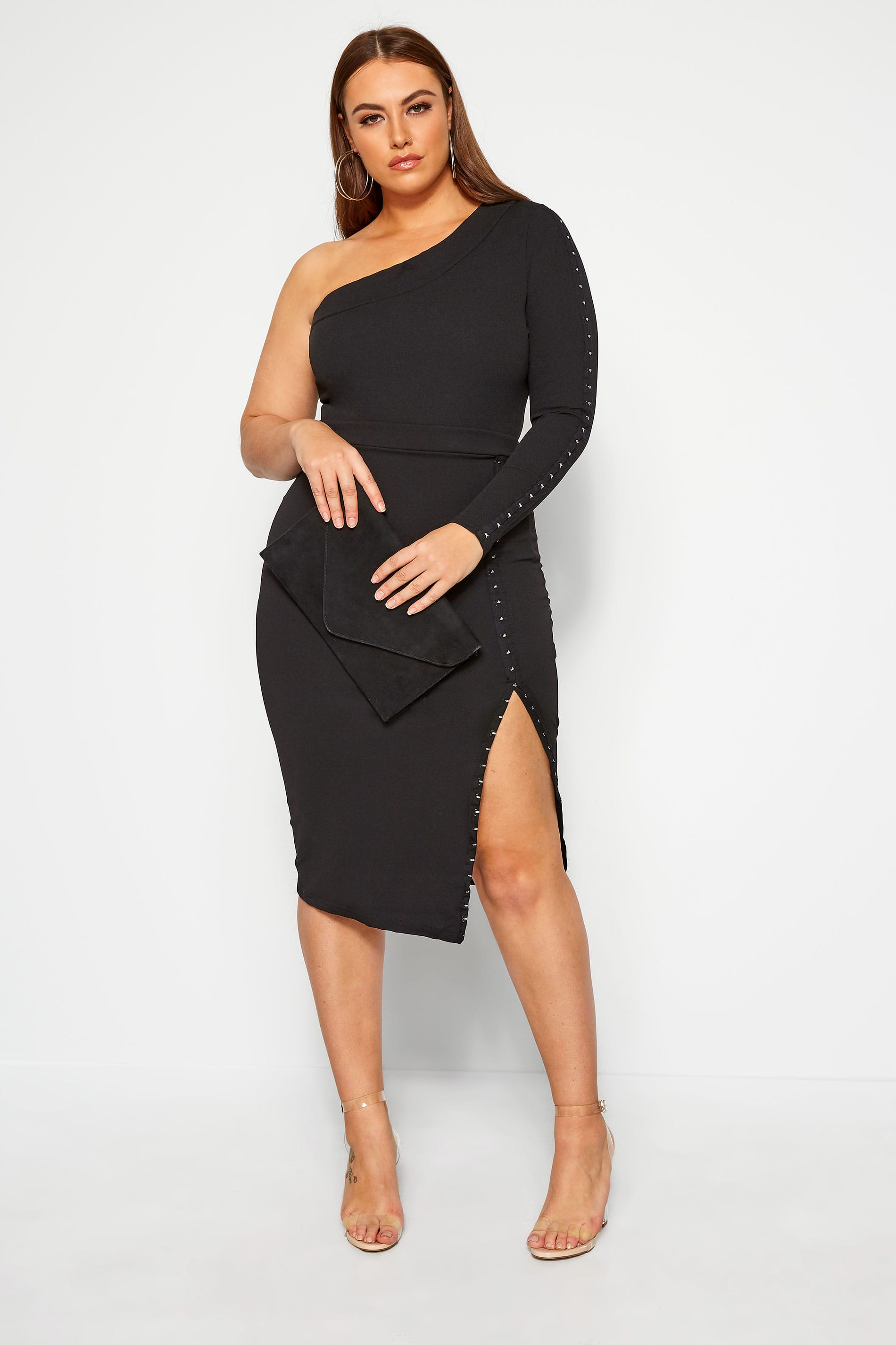 LIMITED COLLECTION Black Hook & Eye Bodycon Midi Skirt