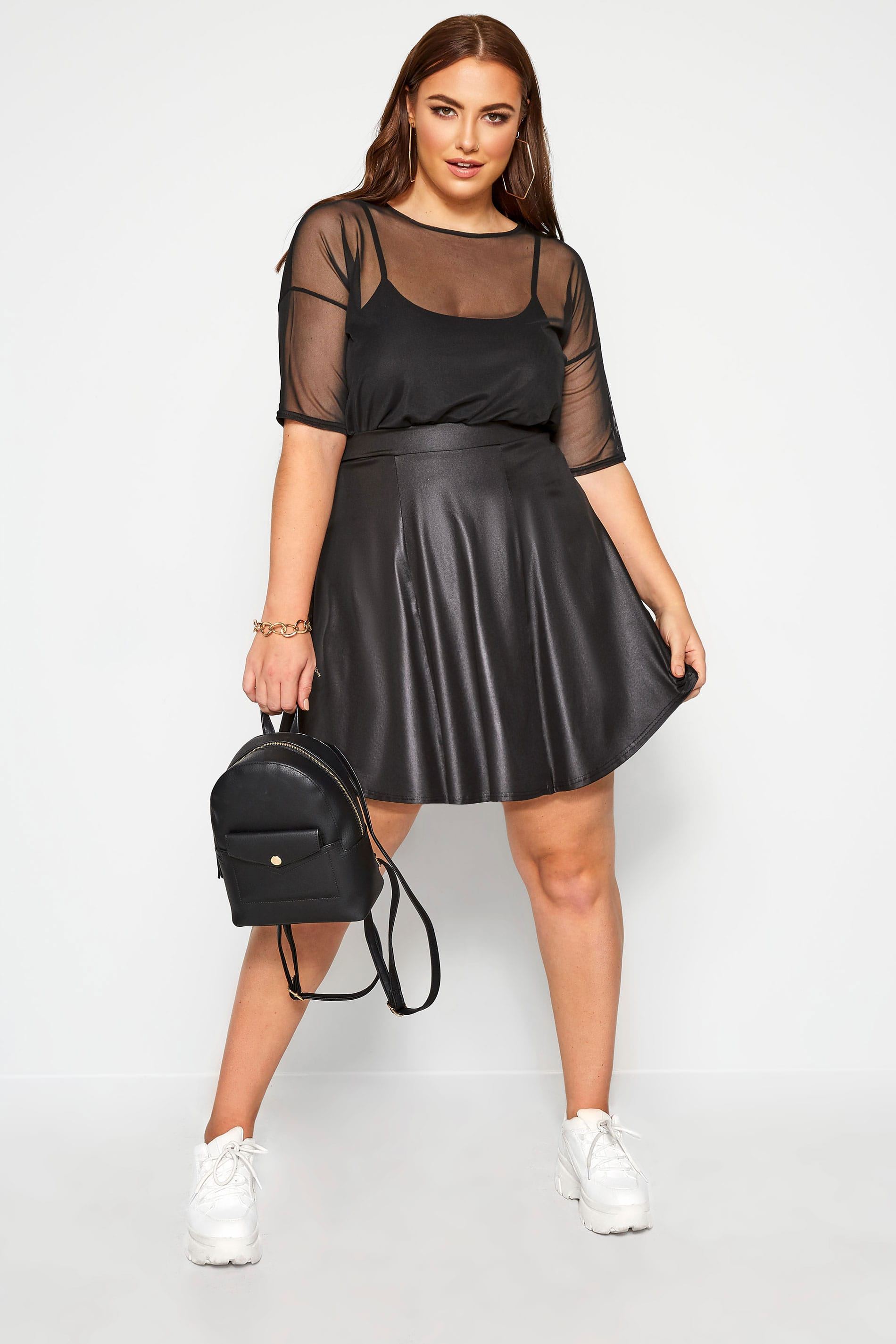 LIMITED COLLECTION Black Leather Look Skater Skirt