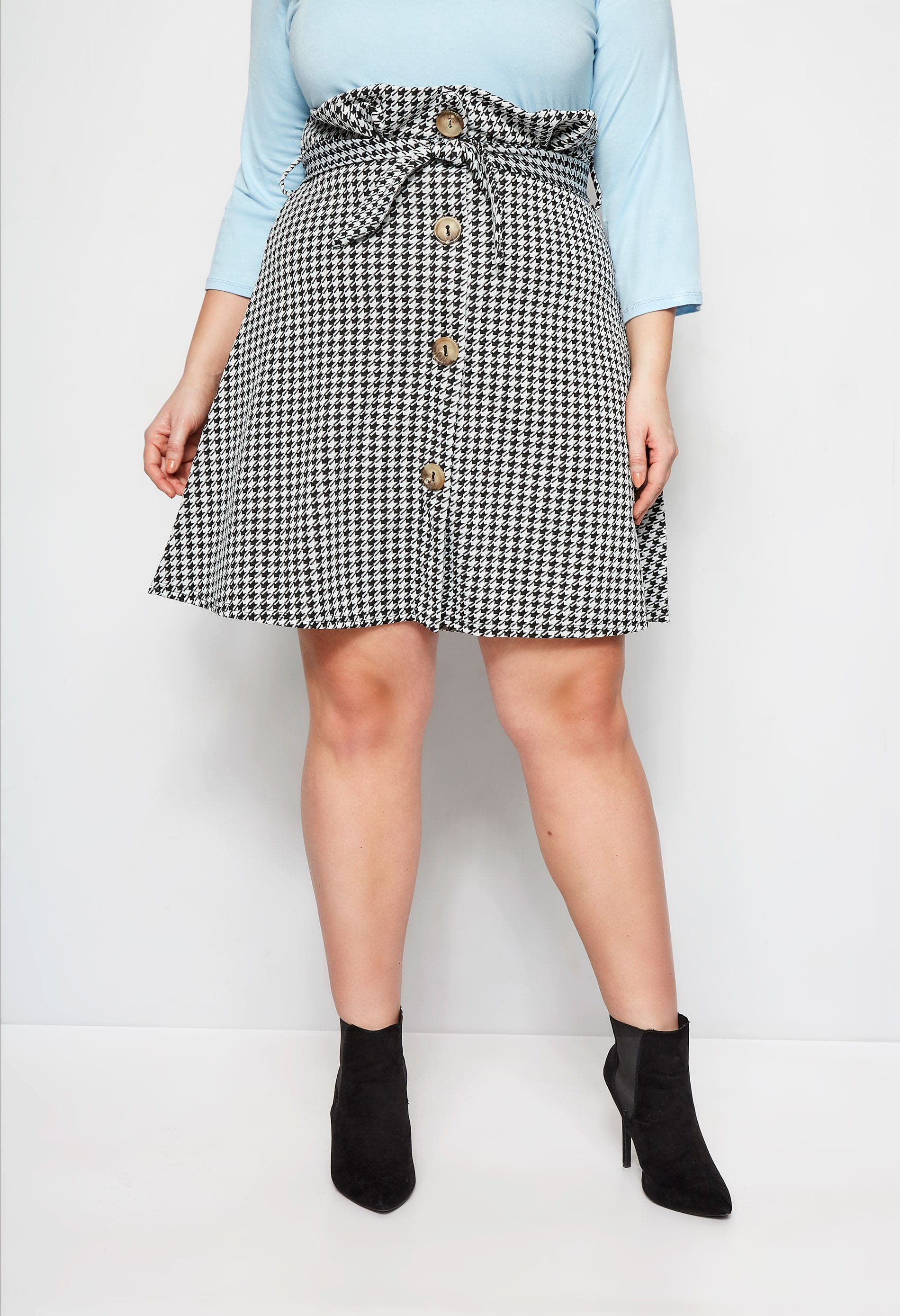 LIMITED COLLECTION Black & White Dogtooth Paperbag Skirt