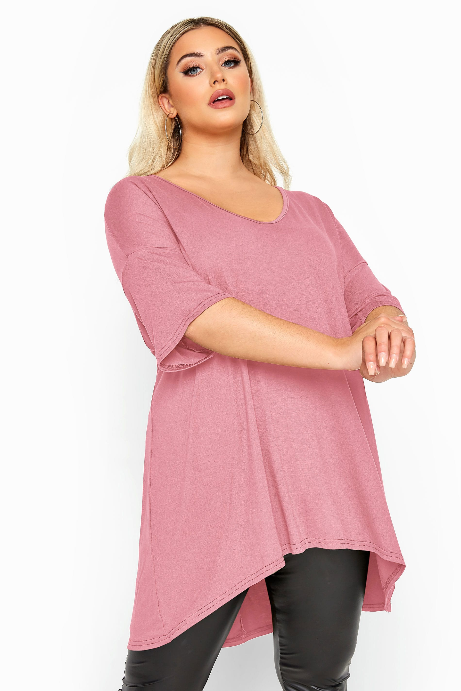 Blush Pink Dipped Hem Drop Shoulder T-Shirt