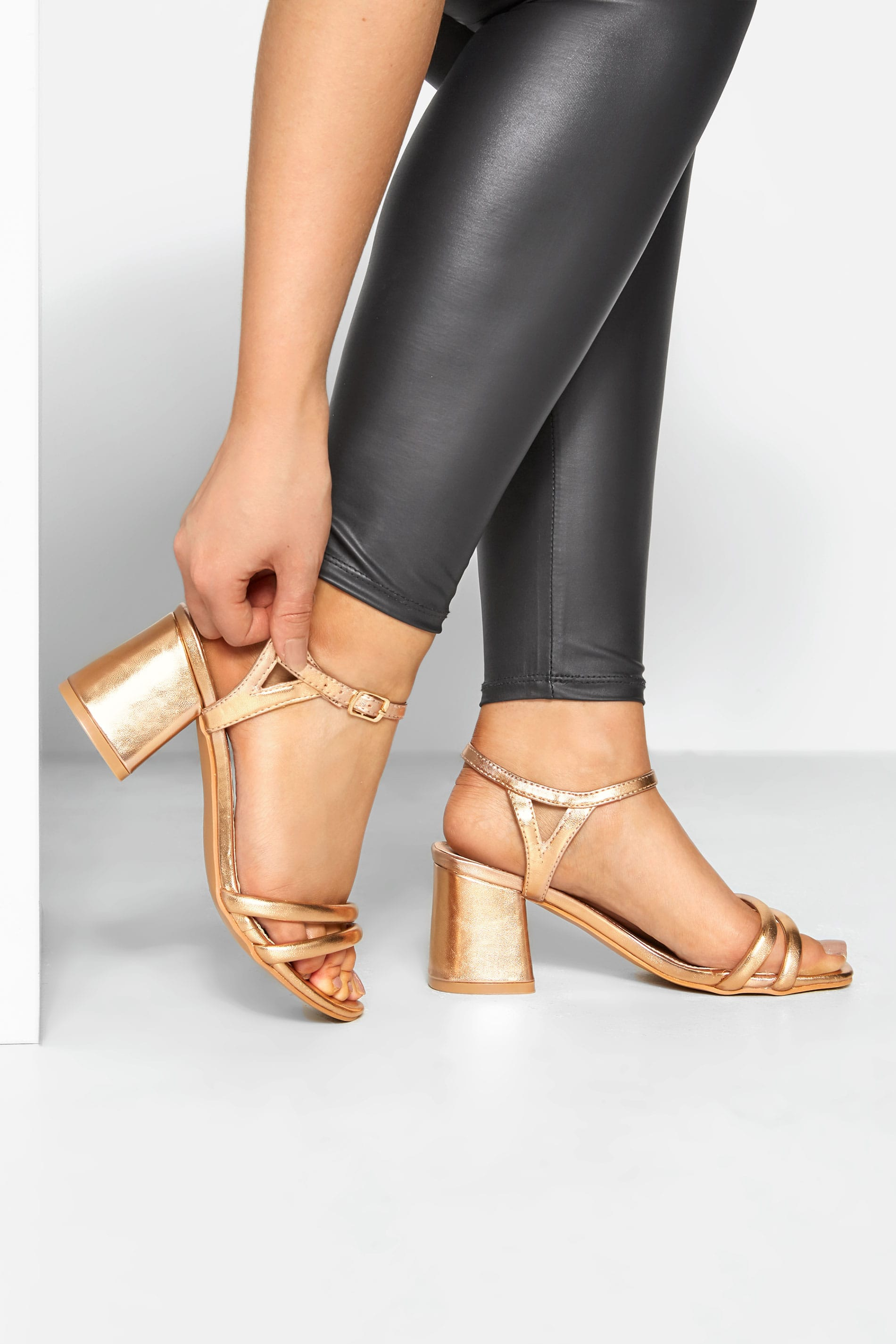 LIMITED COLLECTION Gold Double Strap Heeled Sandals In Extra Wide Fit