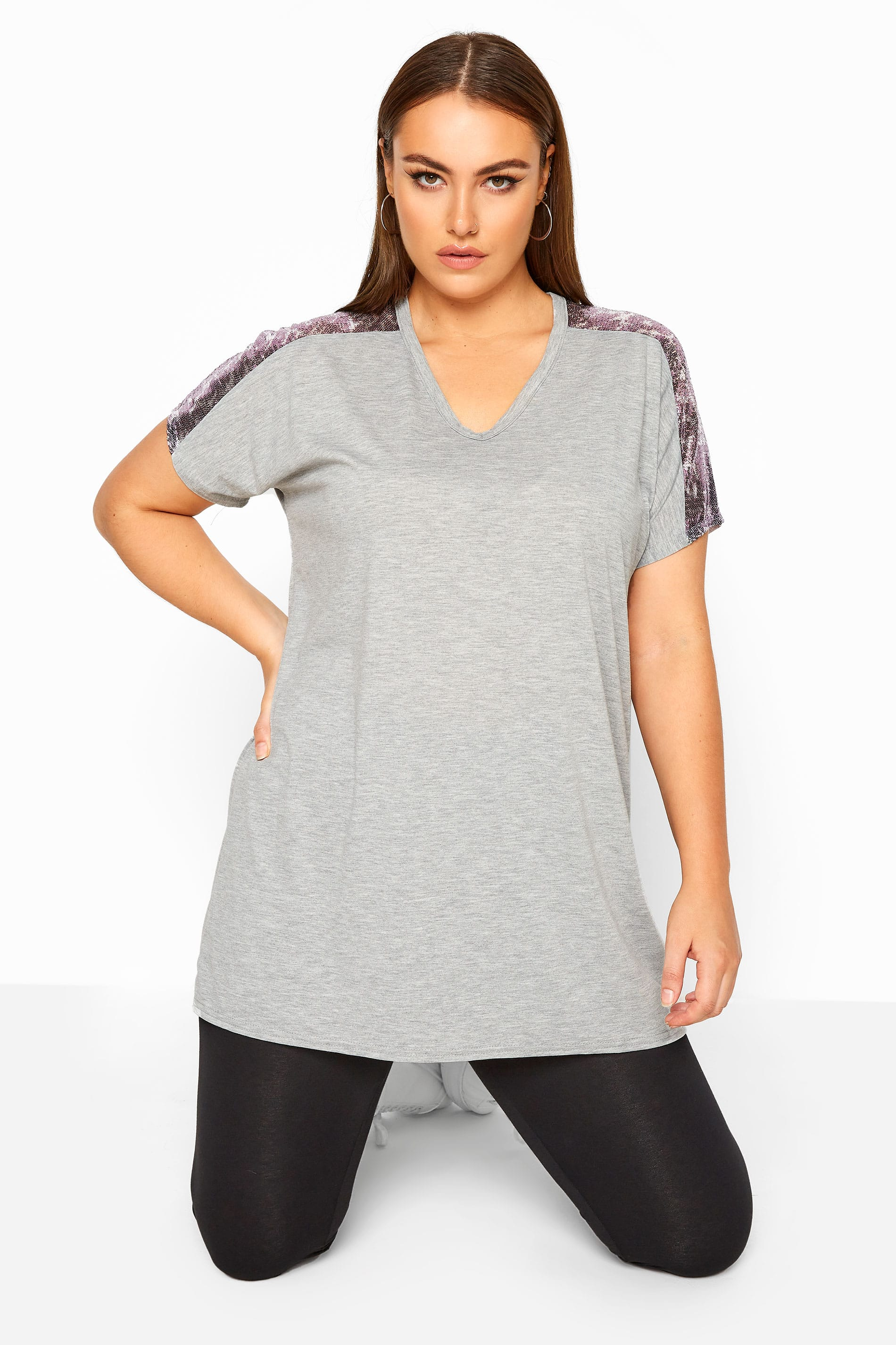 LIMITED COLLECTION Grey Leopard Sequin Top