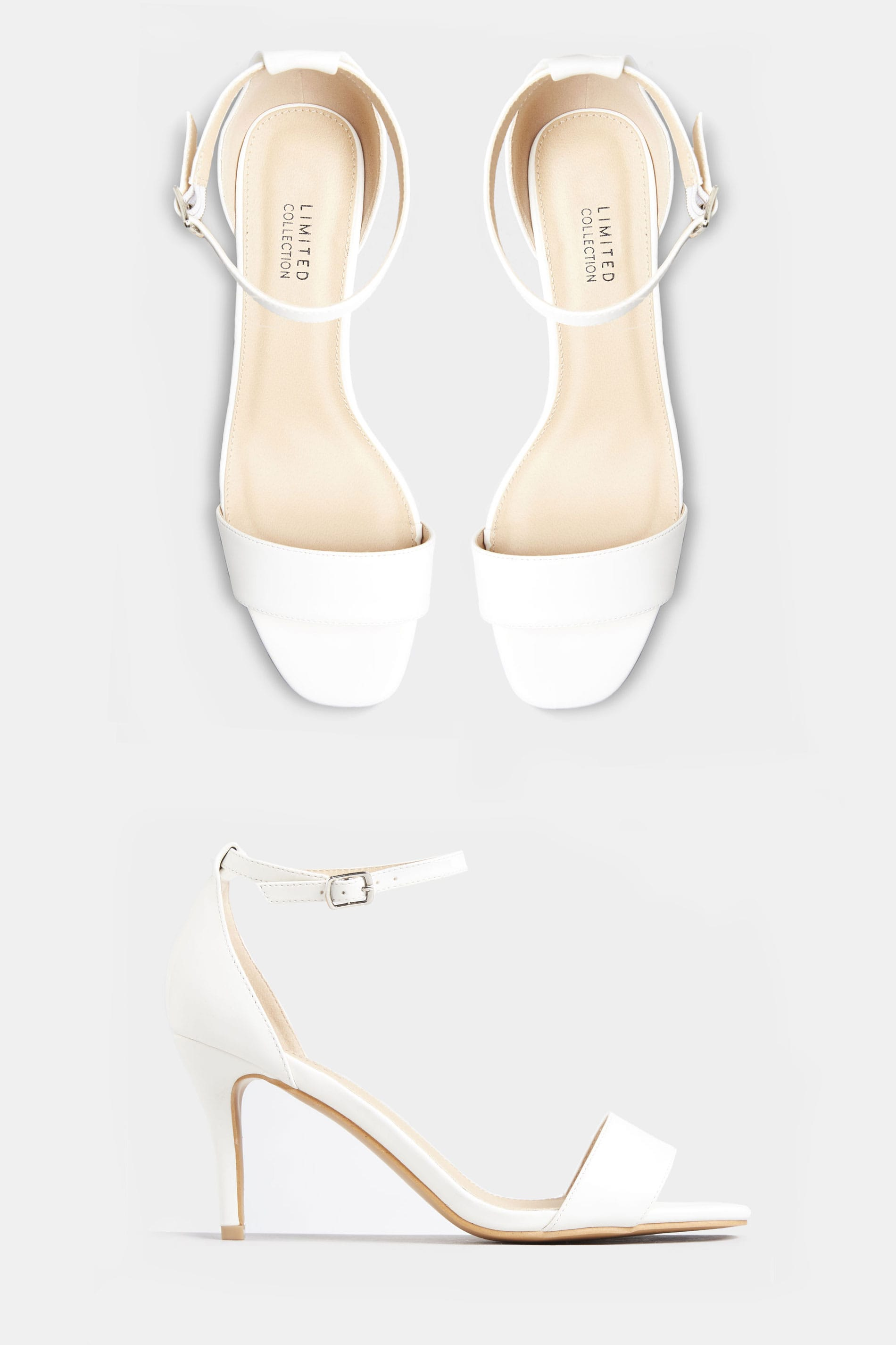 White Strappy Heels In Extra Wide Fit