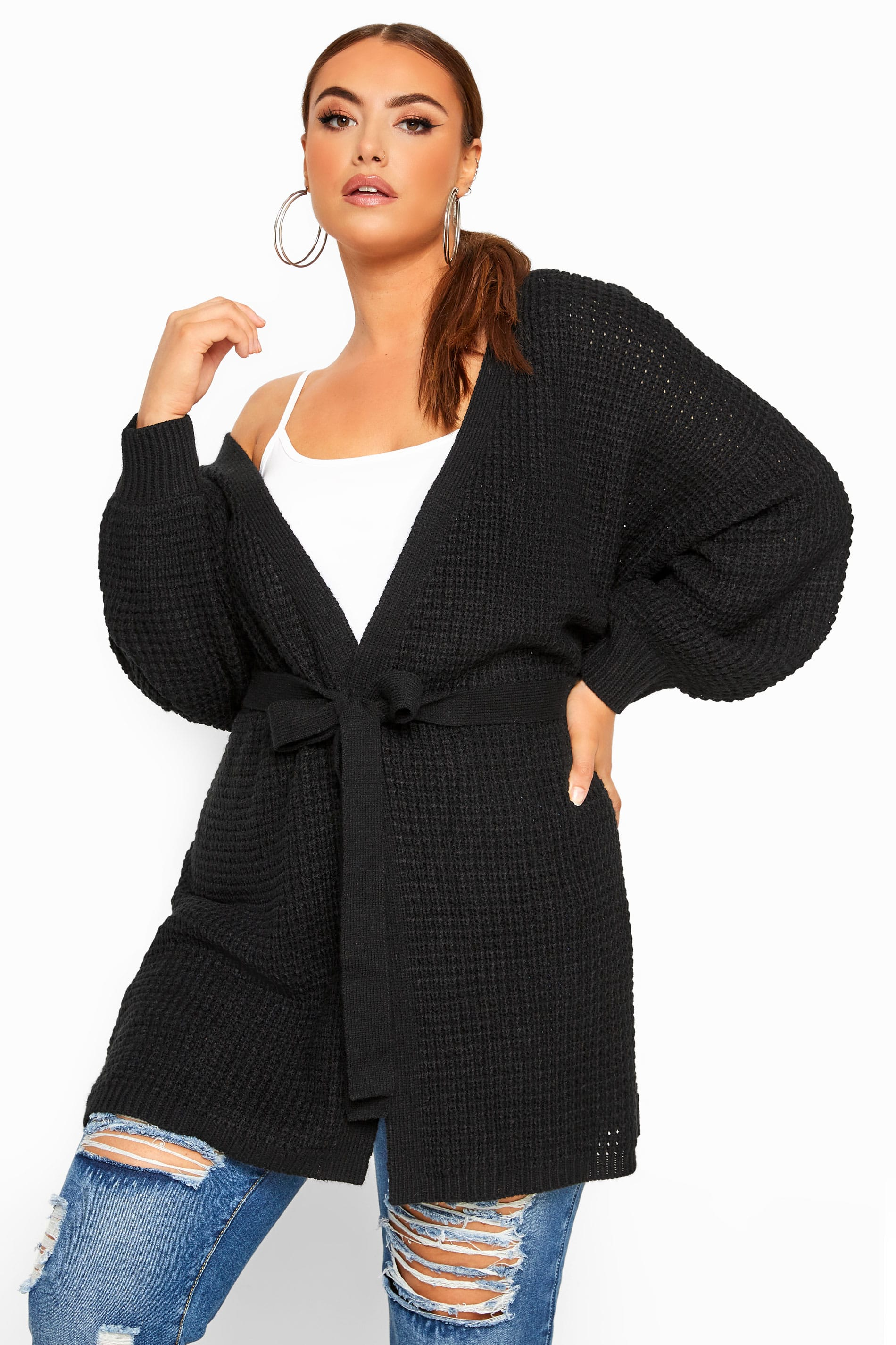 Black Belted Knitted Cardigan