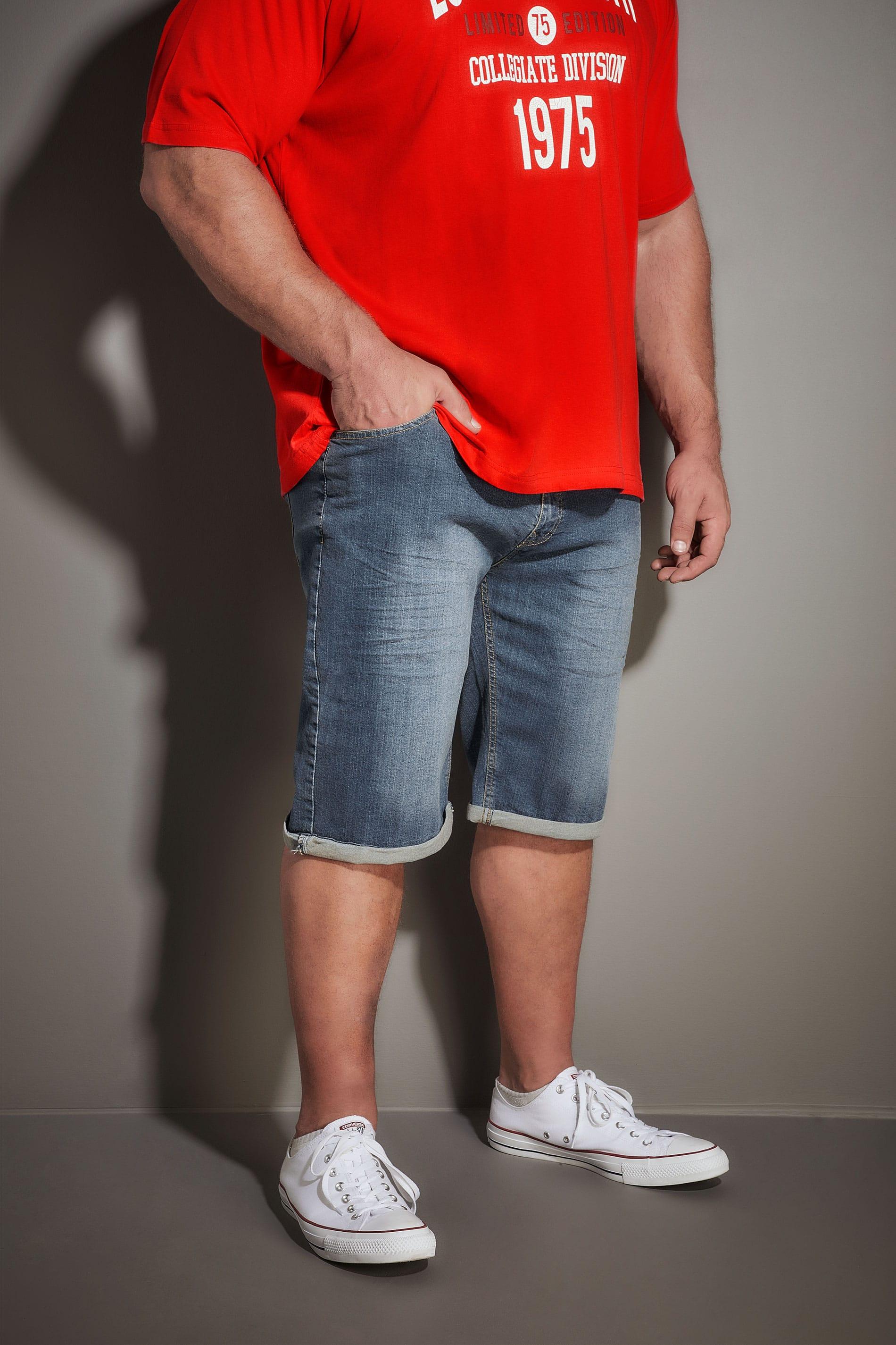 LOYALTY & FAITH Blue Mid Wash Straight Leg Denim Shorts