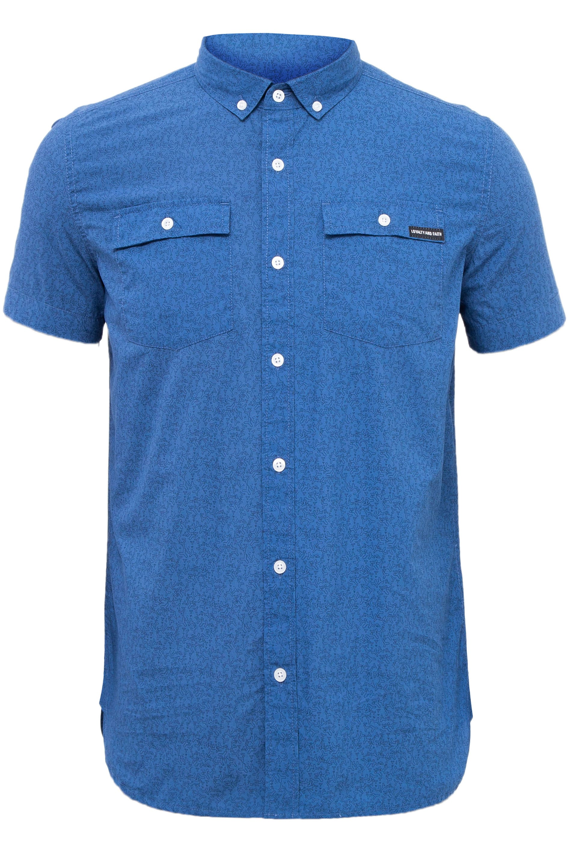 LOYALTY & FAITH Blue Printed Button Down Shirt