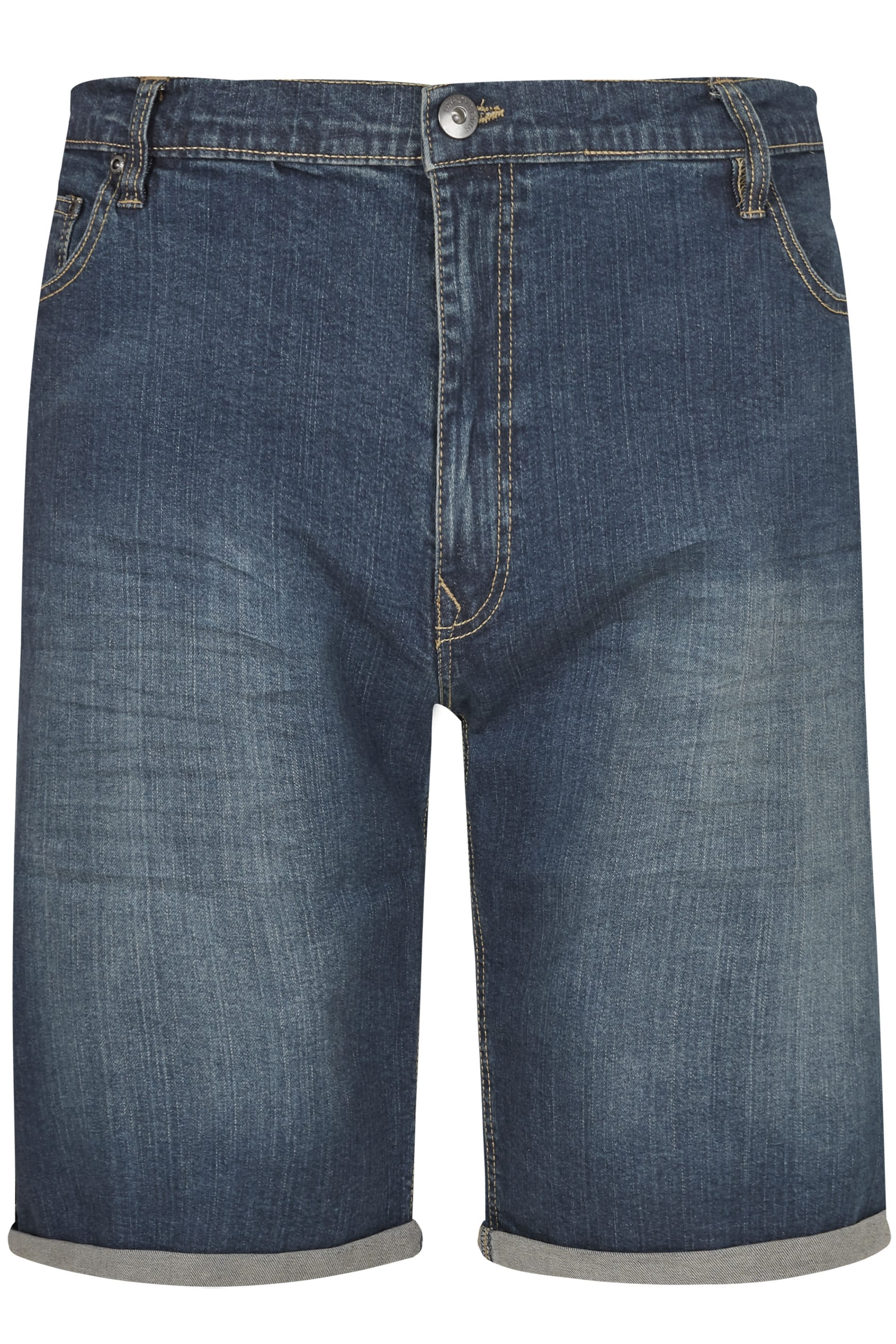 LOYALTY & FAITH Dark Blue Mid Wash Straight Leg Shorts