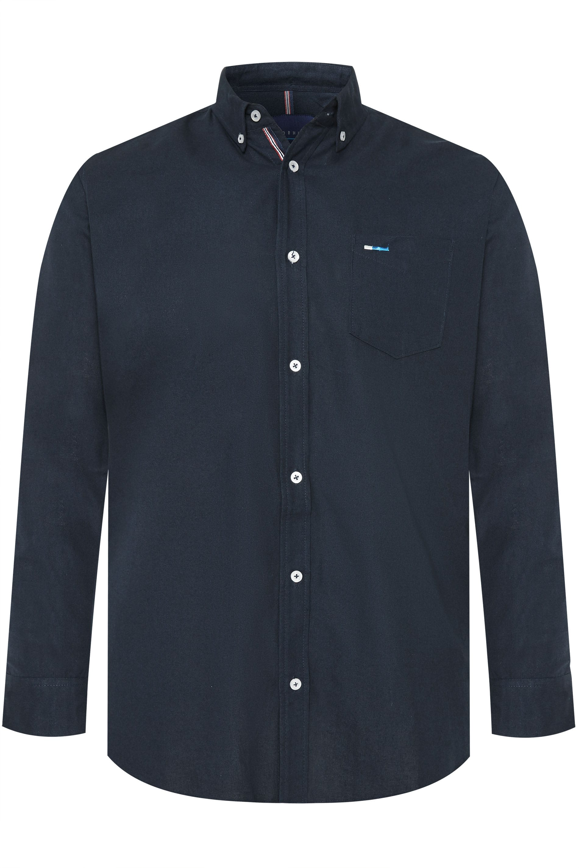 BadRhino Navy Cotton Long Sleeved Oxford Shirt