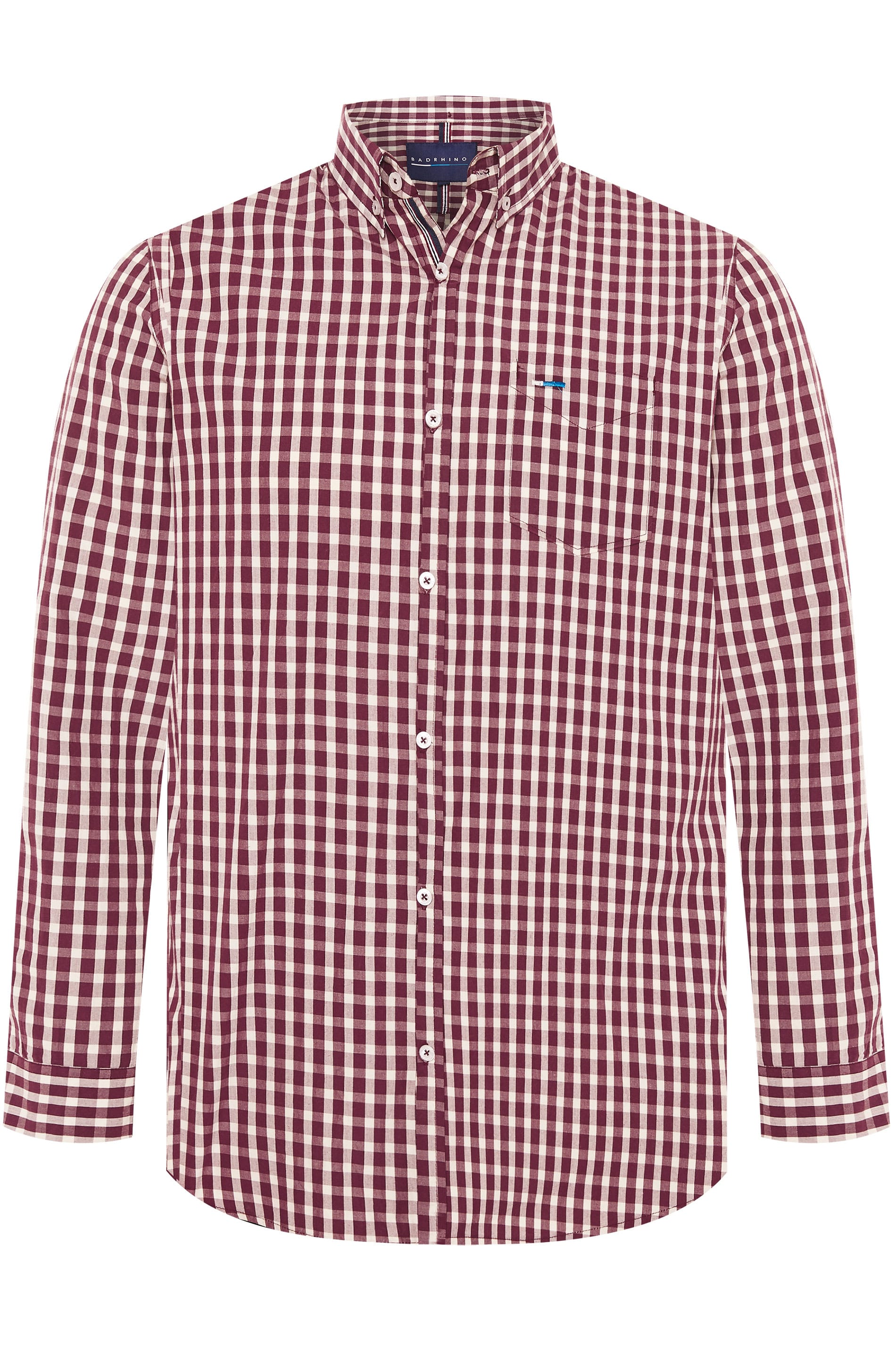 BadRhino Burgundy Gingham Check Shirt