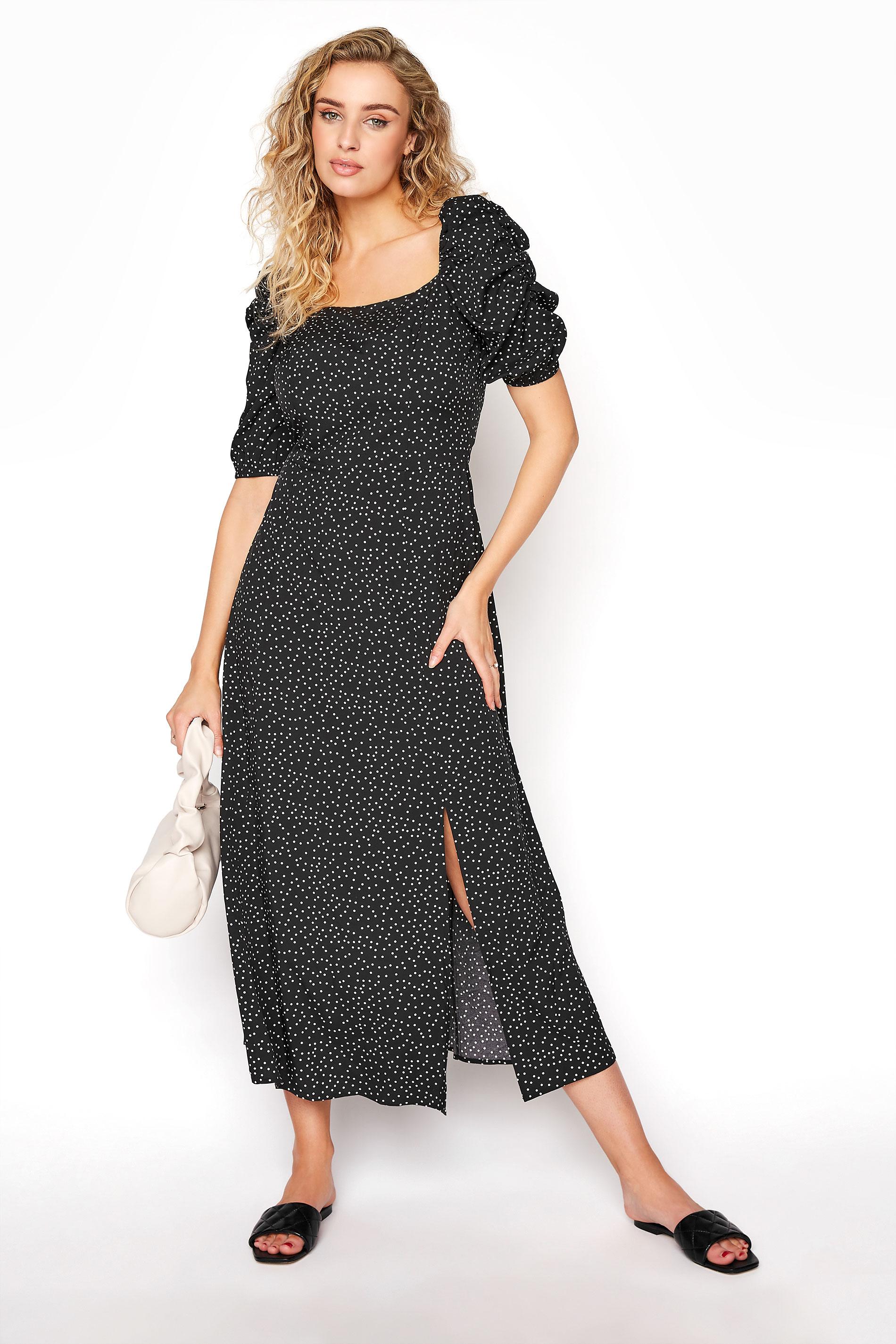 LTS Black Polka Dot Puff Sleeve Midaxi Dress
