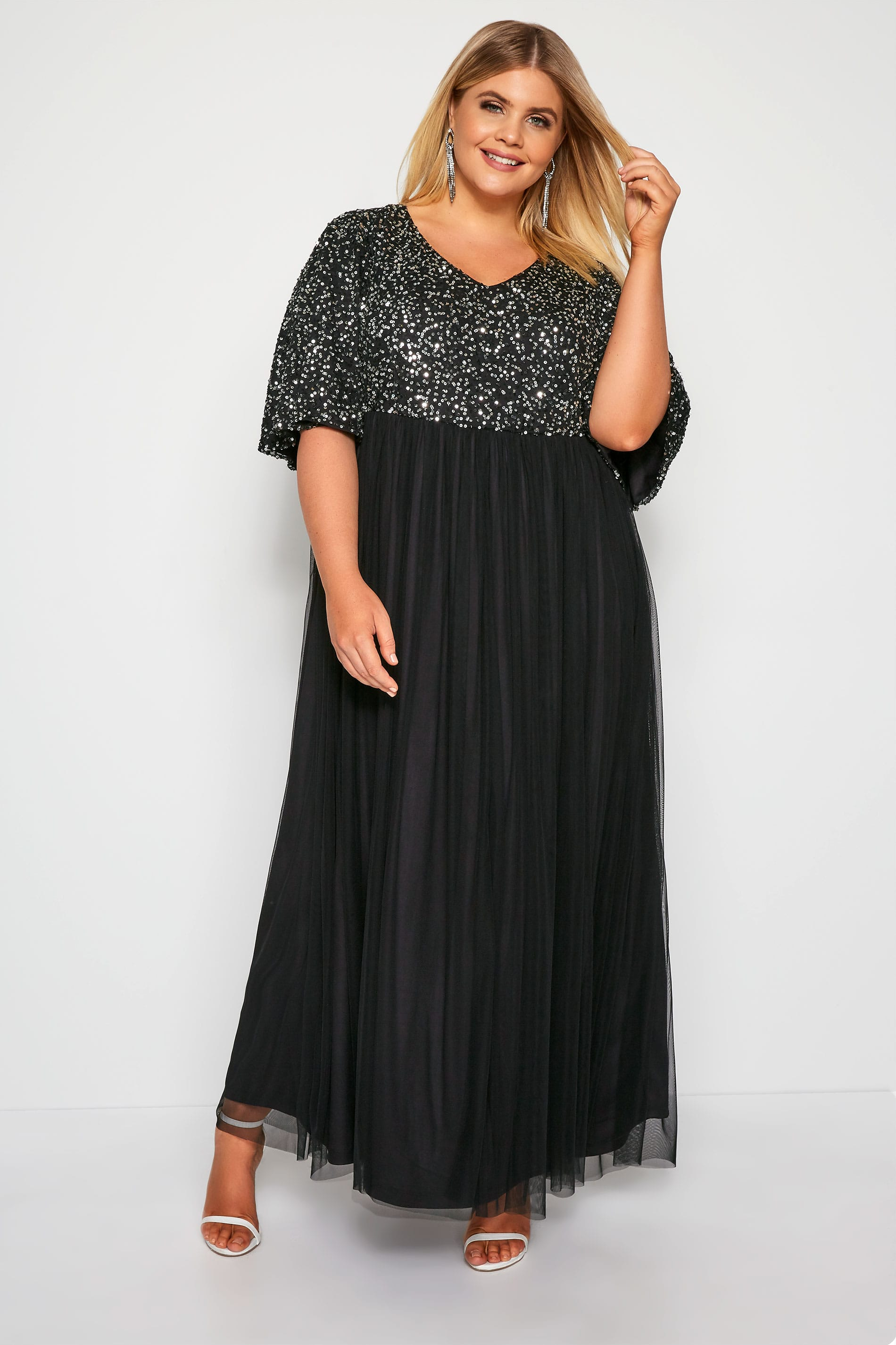 LUXE Black Sequin Embellished Evening Dress