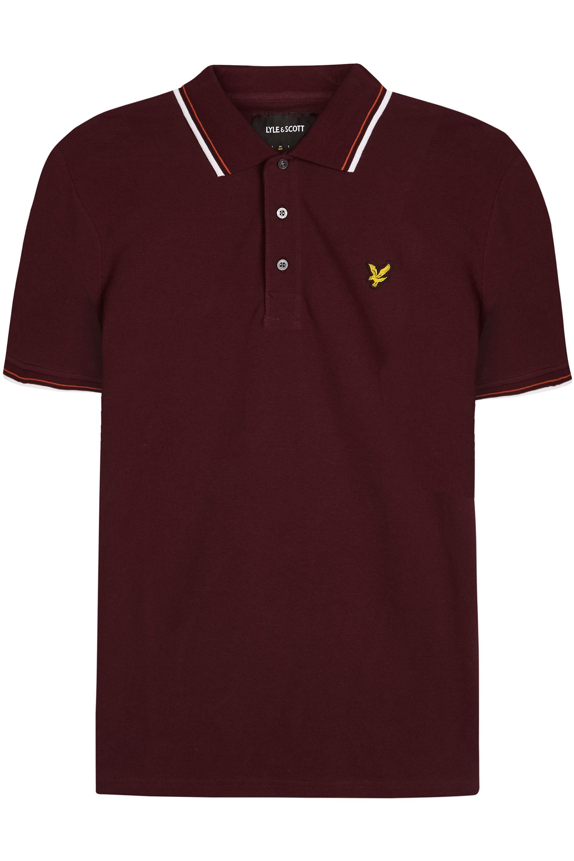 LYLE & SCOTT Burgundy Tipped Polo Shirt