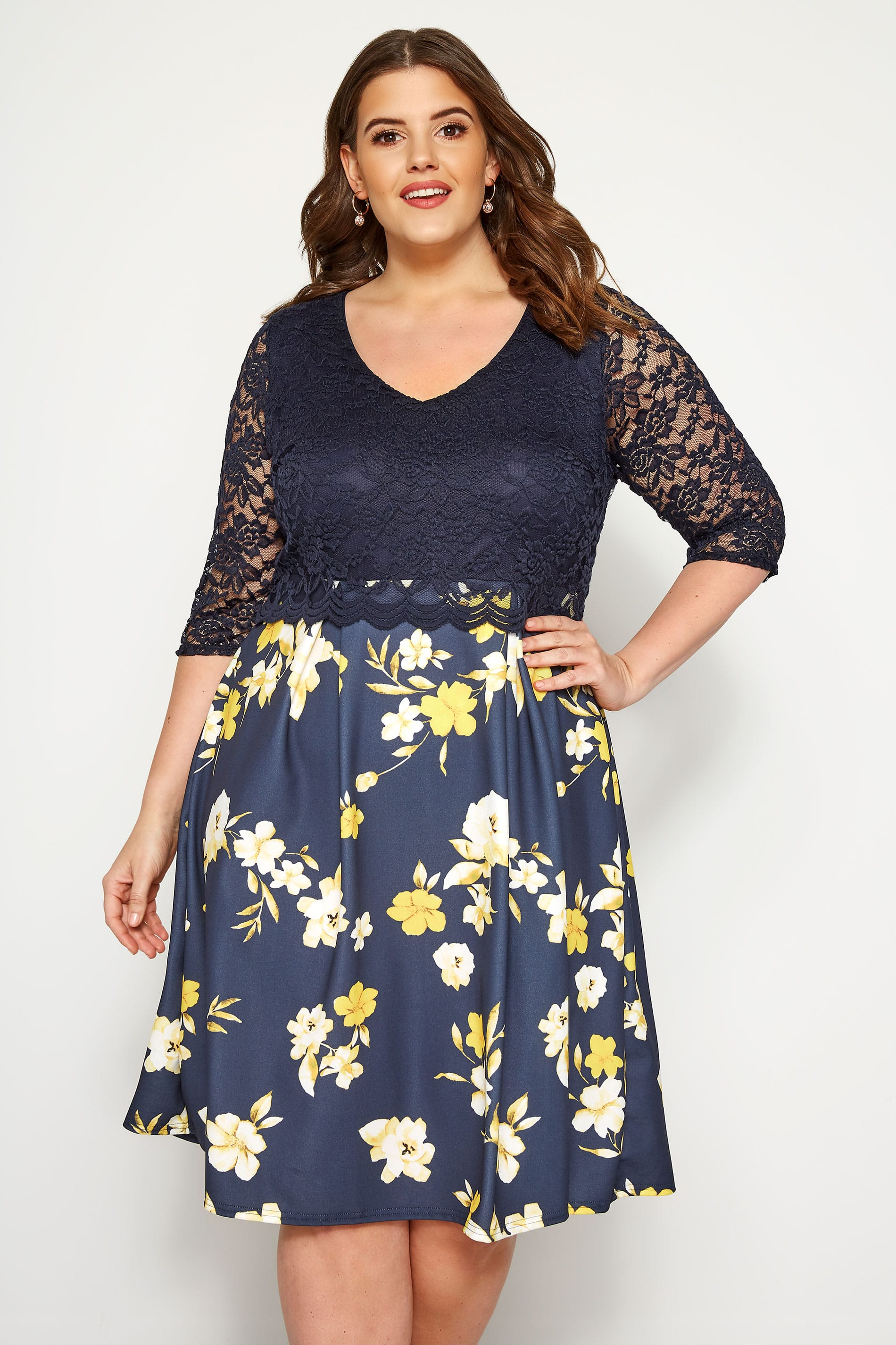 YOURS LONDON Navy Floral Lace Overlay Dress