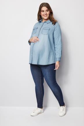 Yours Clothing Women/'s Plus Size Blue Denim Jacket