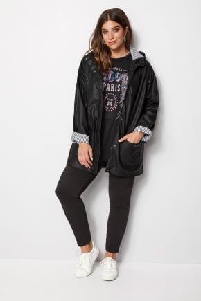 Yours Clothing Women/'s Plus Size Plain Black Hoodie Hooded Sweatshirt Zip Up Uk