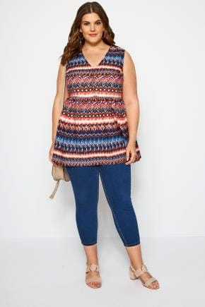 Yours Clothing Women/'s Plus Size Navy Aztec Smock Blouse