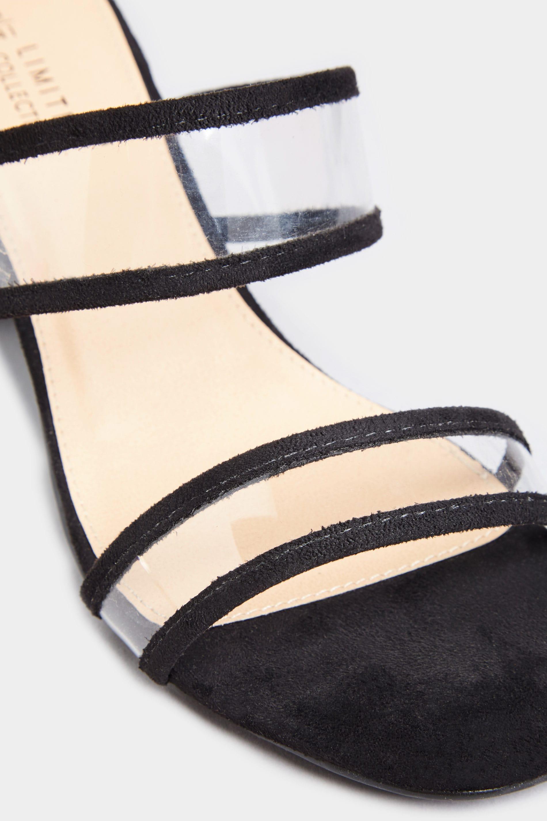 Black Perspex Heeled Mules