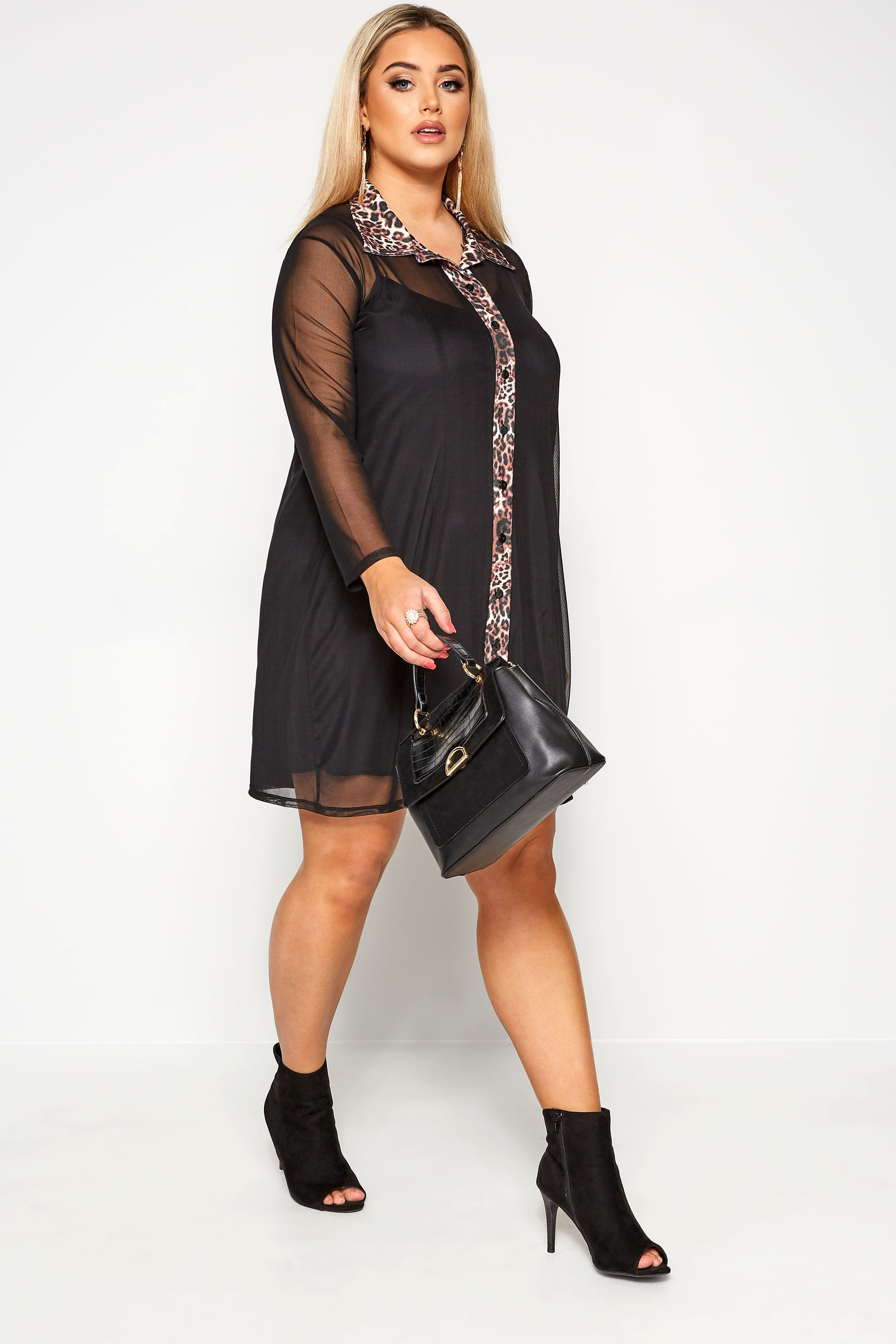 LIMITED COLLECTION Black 2 in 1 Leopard Collar Shirt Dress