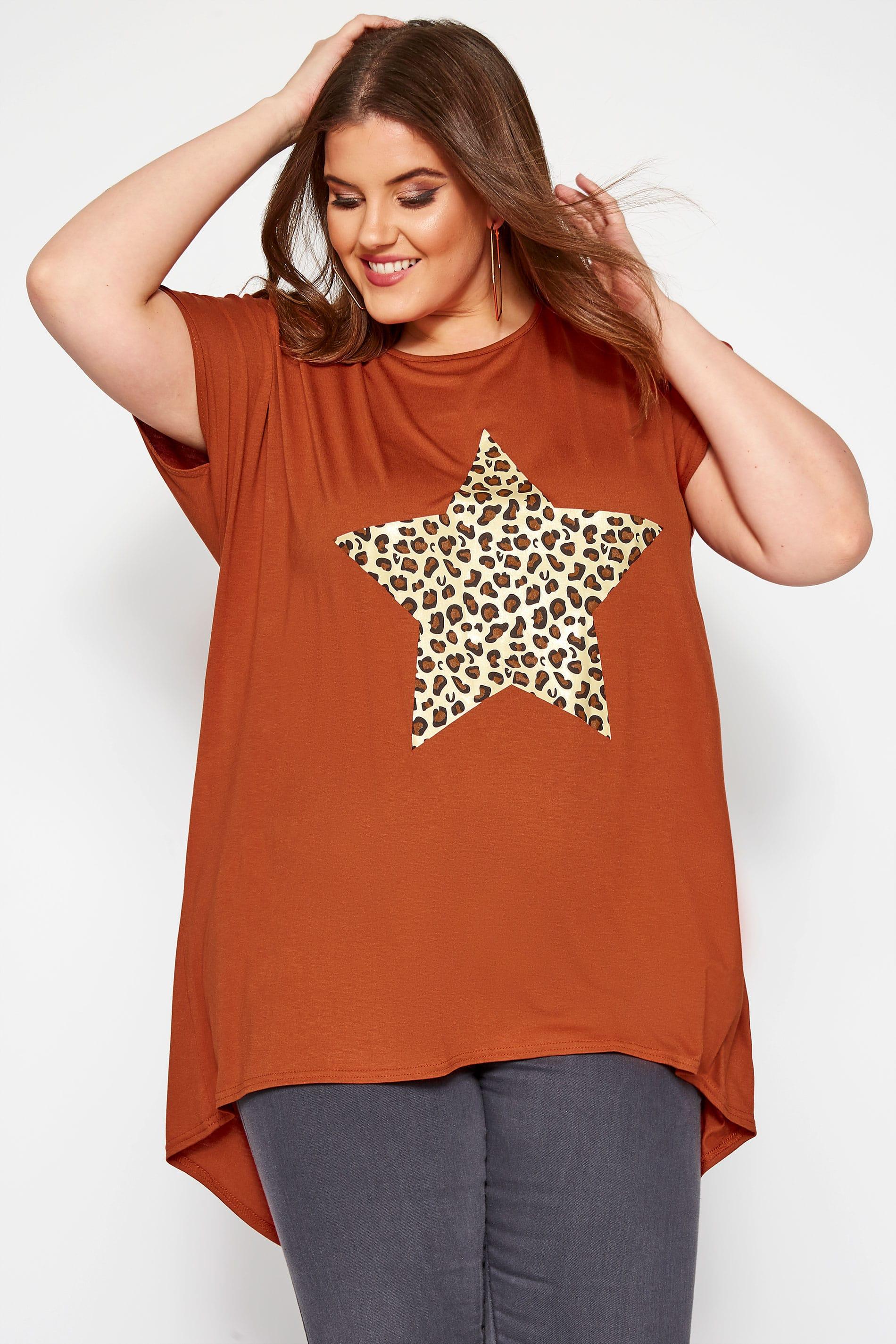 Rust Leopard Star Print T-Shirt