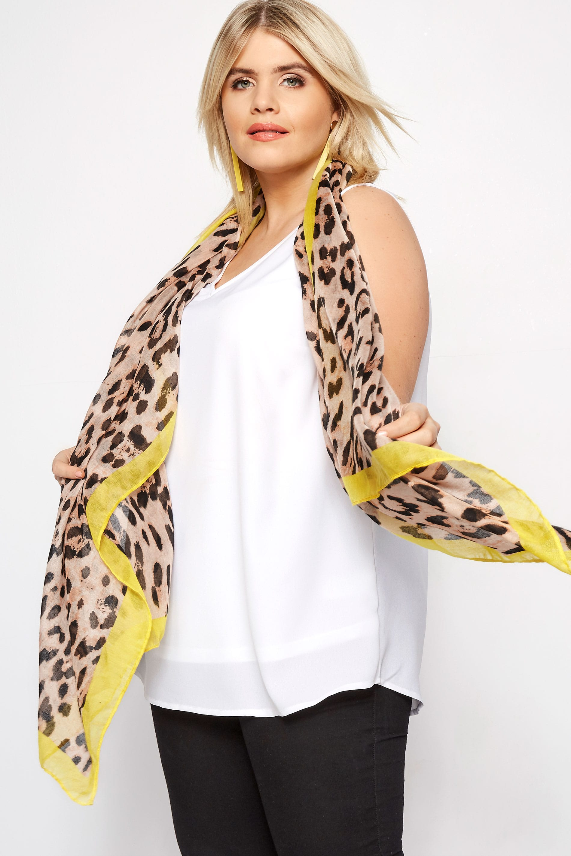 Leopard Yellow Trim Scarf