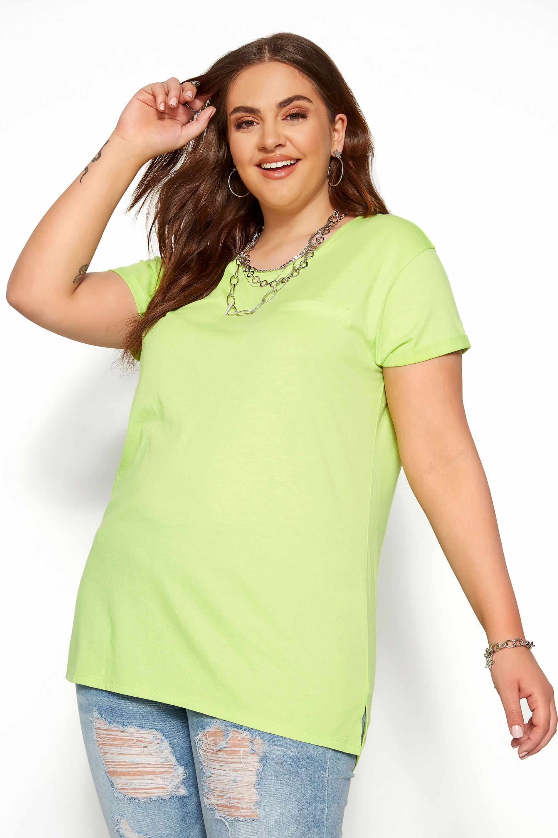 Lime Green Mock Pocket T-Shirt