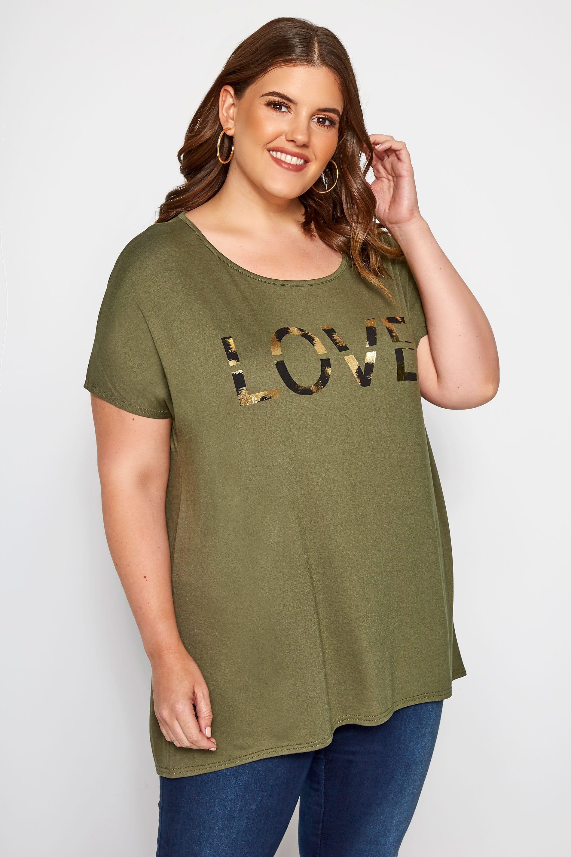 Khaki 'Love' Slogan T-Shirt
