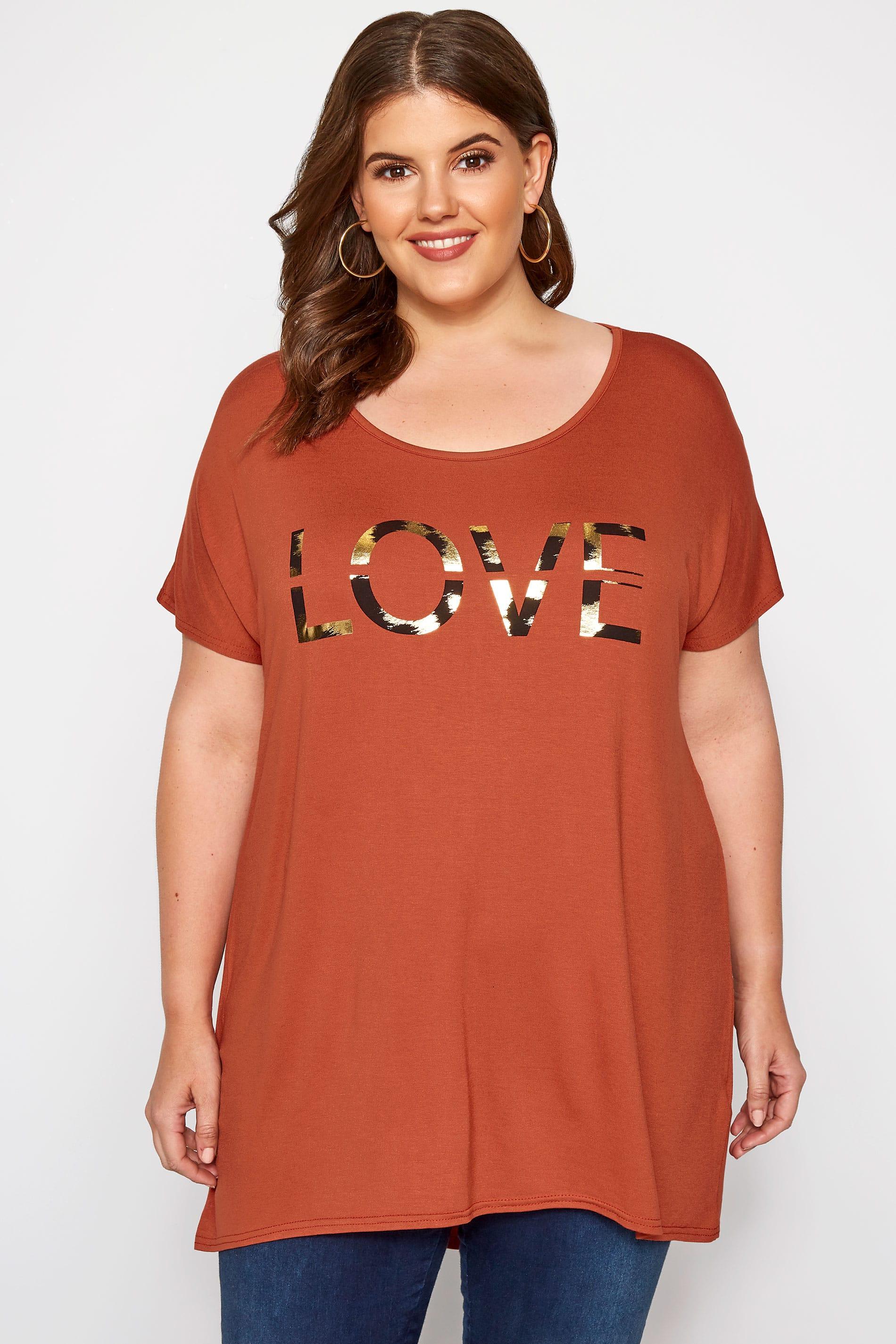 Rust 'Love' Slogan T-Shirt
