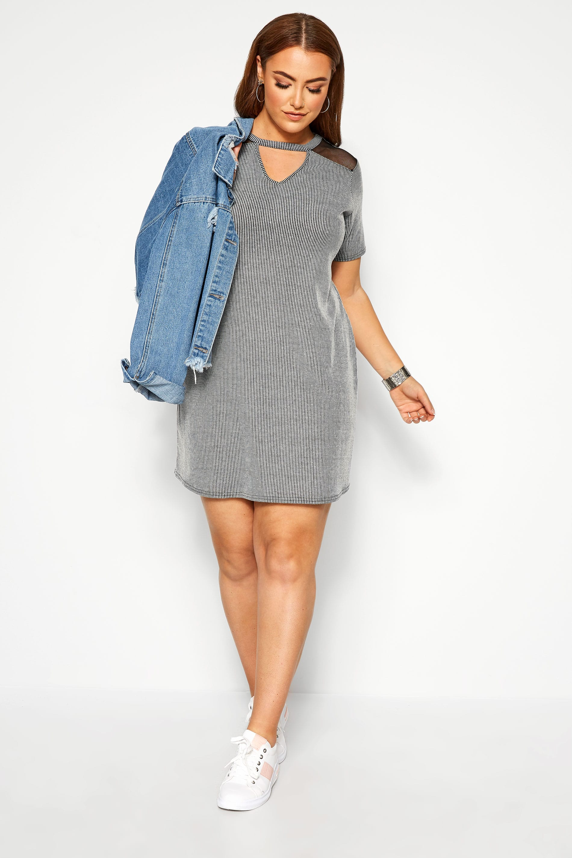 LIMITED COLLECTION Grey Ribbed T-Shirt Dress