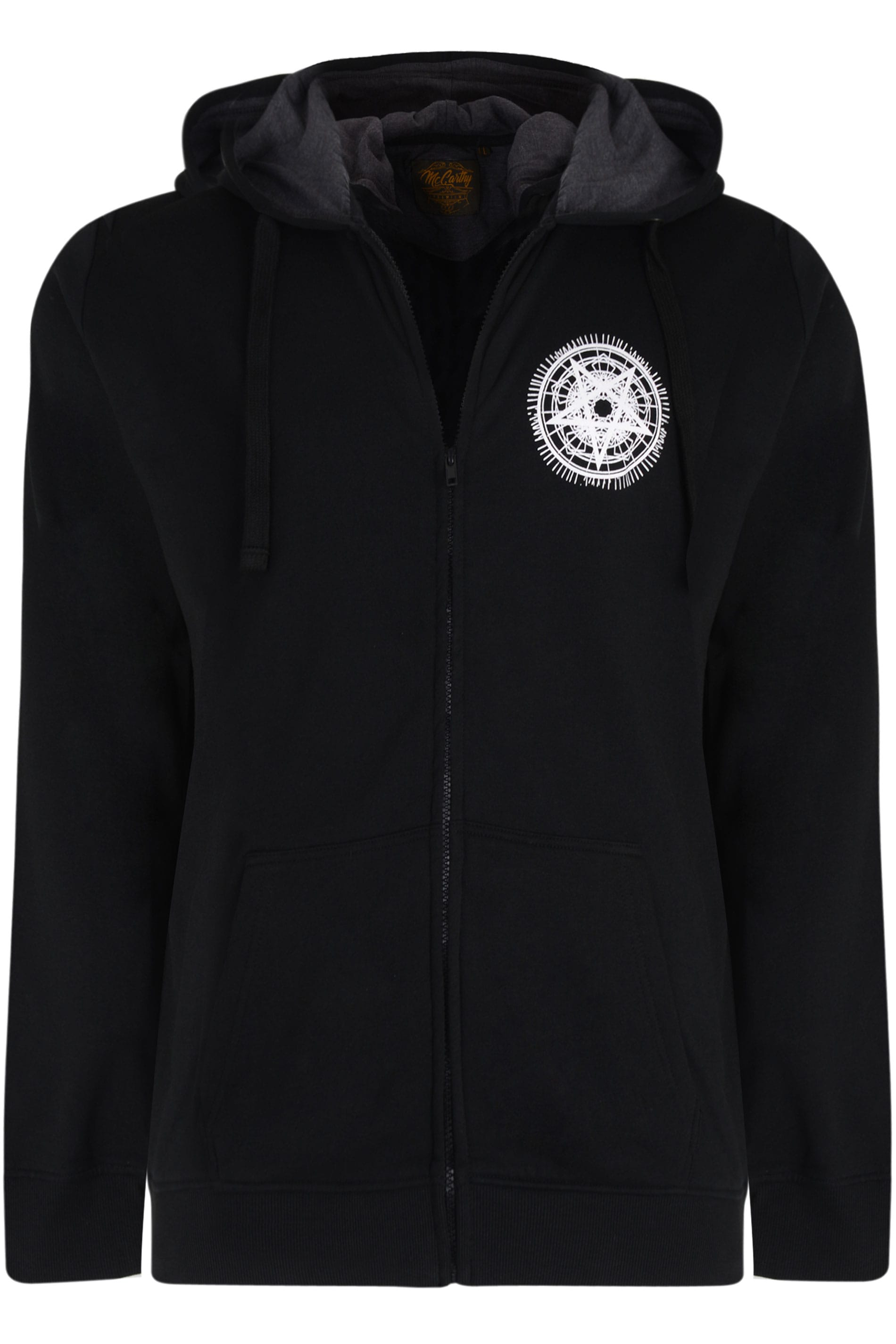 MCCARTHY Black Pentagram Printed Zip Through Hoodie