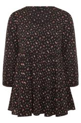 Black Floral Tiered Smock Blouse