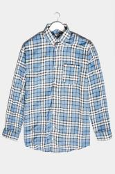 BadRhino Blue Brushed Cotton Flannel Check Shirt