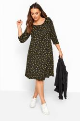 Black & Mustard Yellow Floral Swing Dress