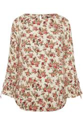 White Floral Print Flute Sleeve Blouse