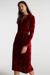 Red Crushed Velvet Wrap Dress