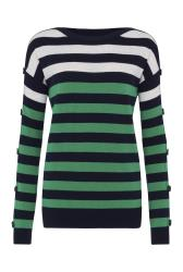 Navy Stripe Wool Blend Jumper